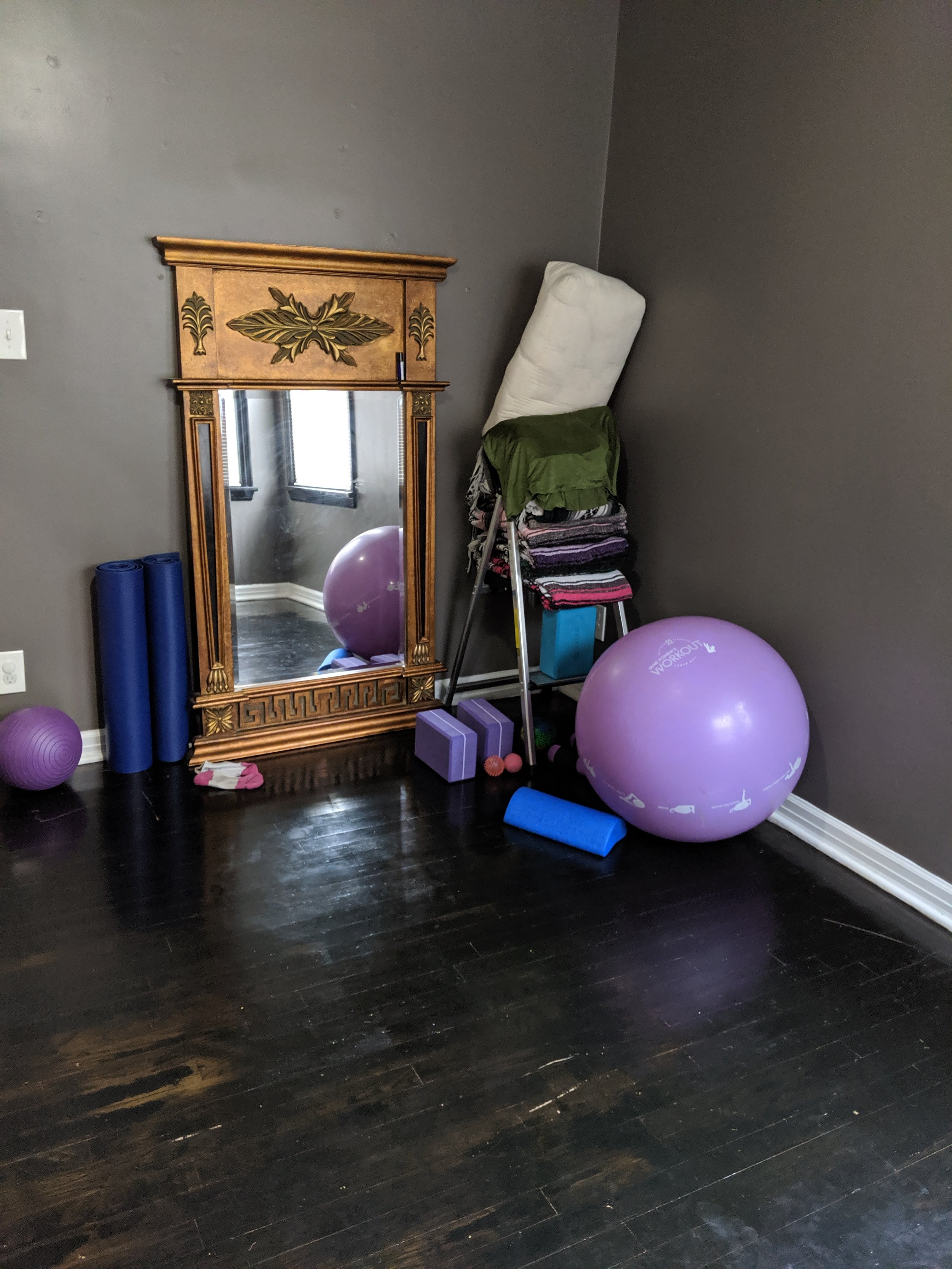Various props used in Whole Body Core classes (Picture of my home studio)