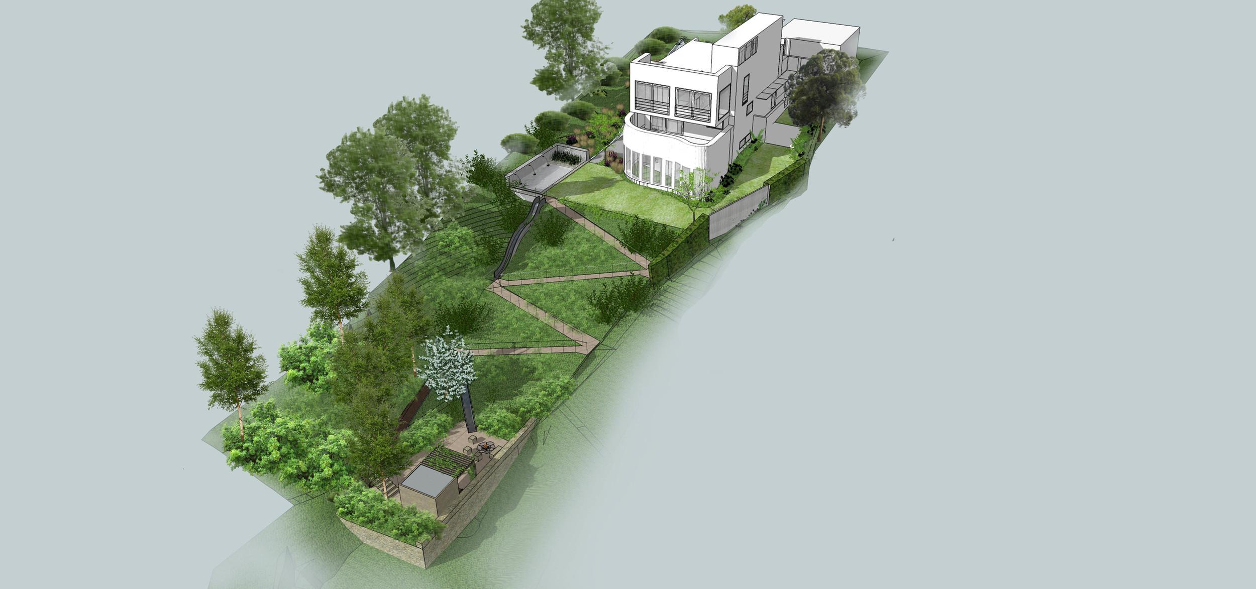 Zahrada ve svahu s převýšením 18m. Hledání řešení rozšíření roviny kolem domu.Zdroj: Tereza Mácová