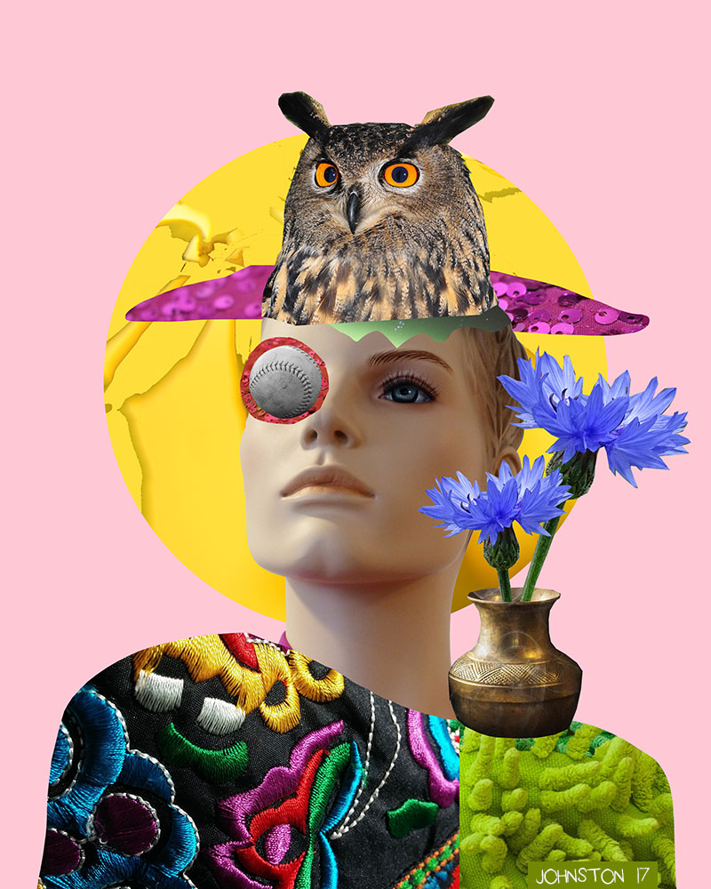 Laura Johnston Owl Lady (Hello, bitches!) Digital Collage 2017