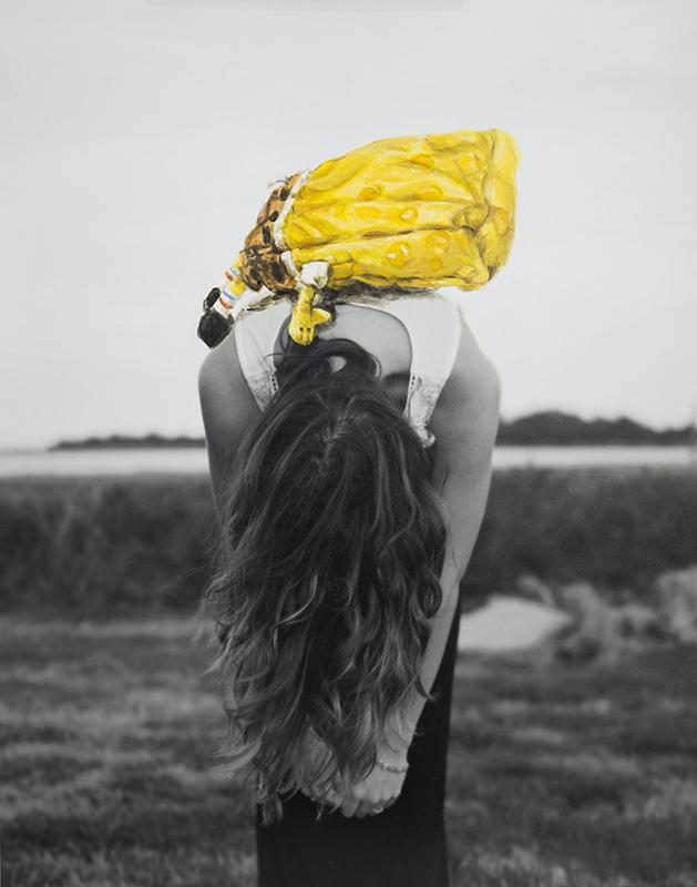 "Collaboration Photo: Jason Meyer Model: Sarah Meyer Spongebob Painting: Laura Johnston  11x14"" acrylic on photo print 2016"