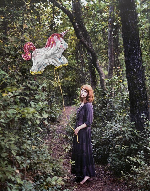 "Collaboration Photo: Sarah Meyer Model: Kayla Johnston Balloon Painting: Laura Johnston  11x14"" acrylic on photo print 2016"