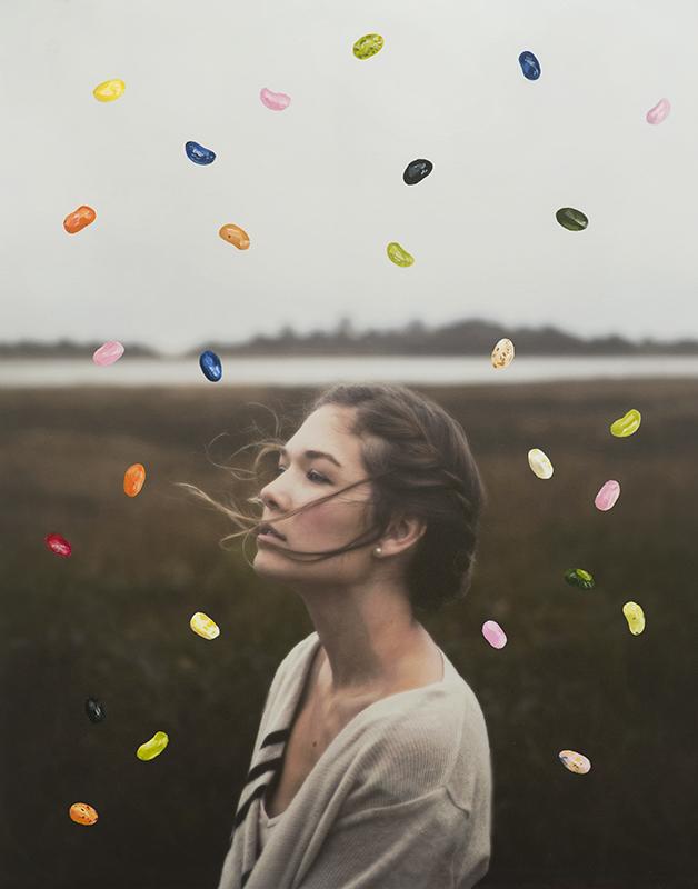 "Collaboration Photo: Jason Meyer Model: Sarah Meyer Jellybeans Painting: Laura Johnston  11x14"" acrylic on photo print 2017"