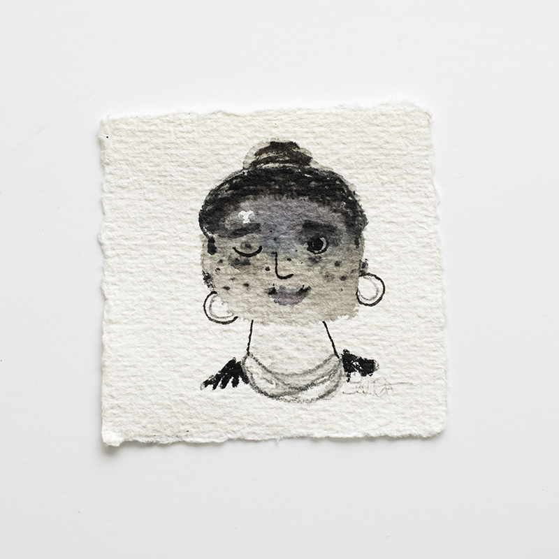 "Laura Johnston Freya 3x3"" mixed media on paper 2017"