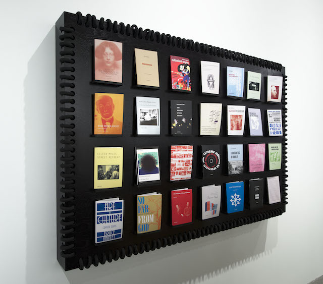 """Detail view of """"Semiotext(e): New Series"""" (2014) by 'Semiotext(e),' Whitney Biennial 2014, Whitney Museum of American Art, New York (collection of 'Semiotext(e),' photo by Bill Orcutt)"""
