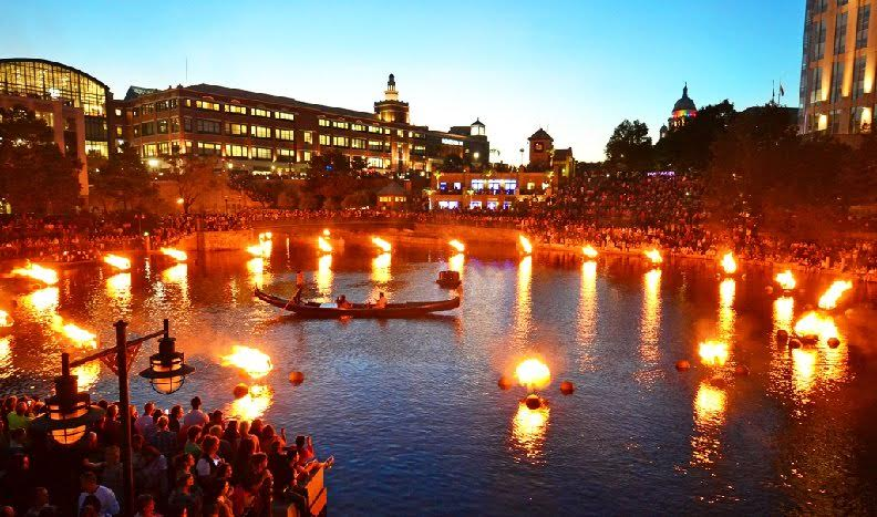An example of a Partial WaterFire basin lighting