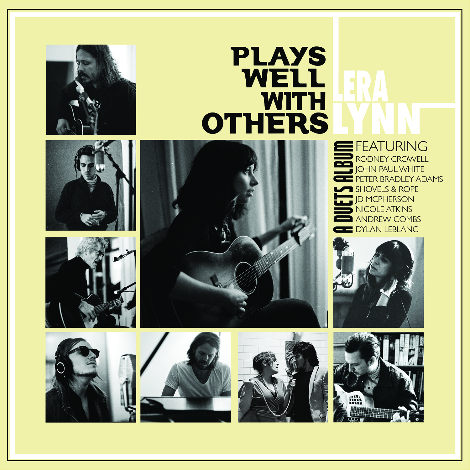 """We're excited to announce a new project from  Lera Lynn . It's called """"Plays Well With Others"""", and it's a duets record featuring  John Paul White , Dylan LeBlanc , Nicole Atkins , Shovels and Rope , Peter Bradley Adams , Rodney Crowell (Official) , JD McPherson and  Andrew Combs .  """"Plays Well With Others"""" will release on CD and digital platforms on June 22, and a vinyl LP release will follow on July 27th.  Pre-order yours today: smarturl.it/LeraLynnPWWO"""