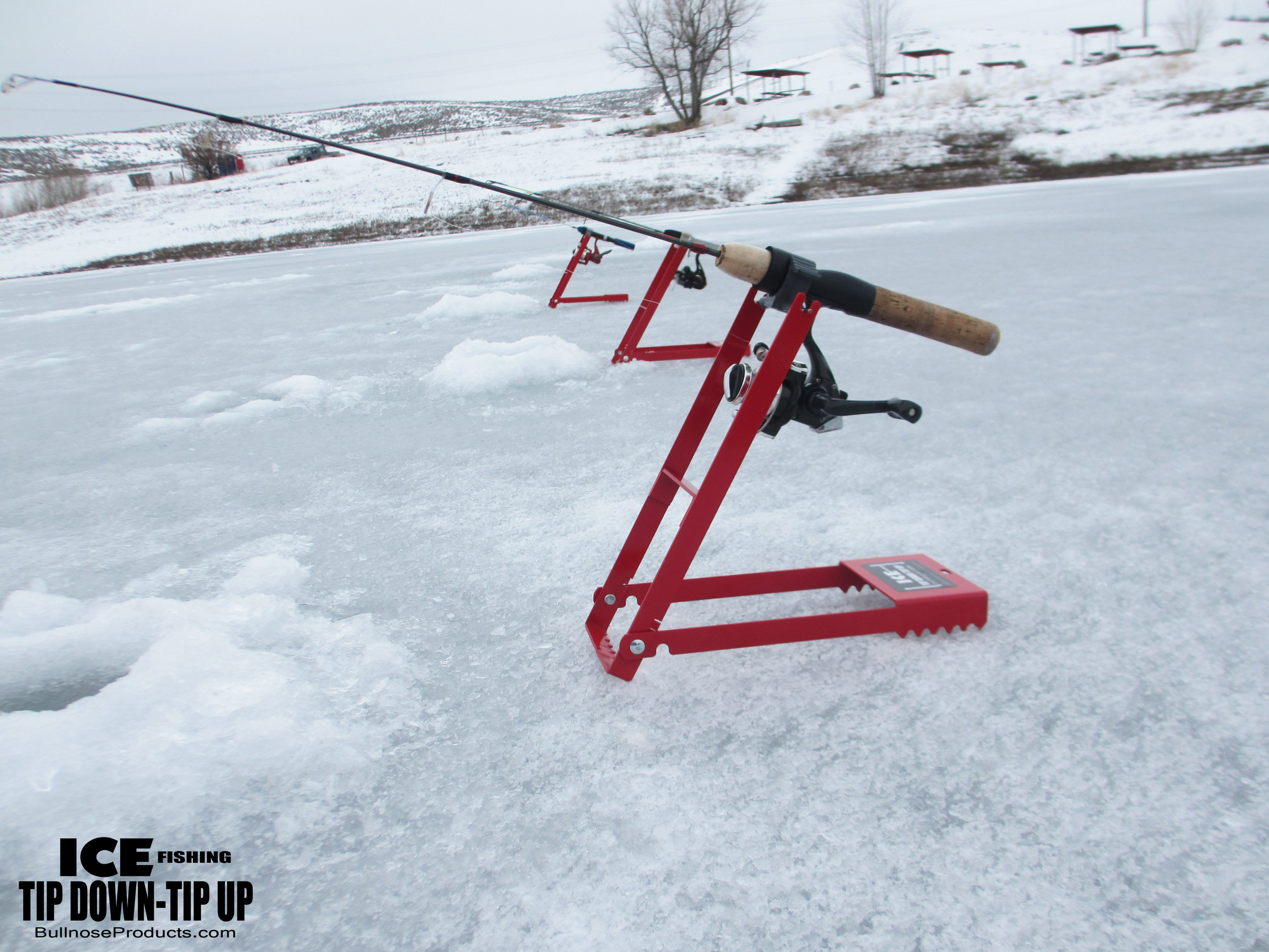 Ice fishing tip down tip up