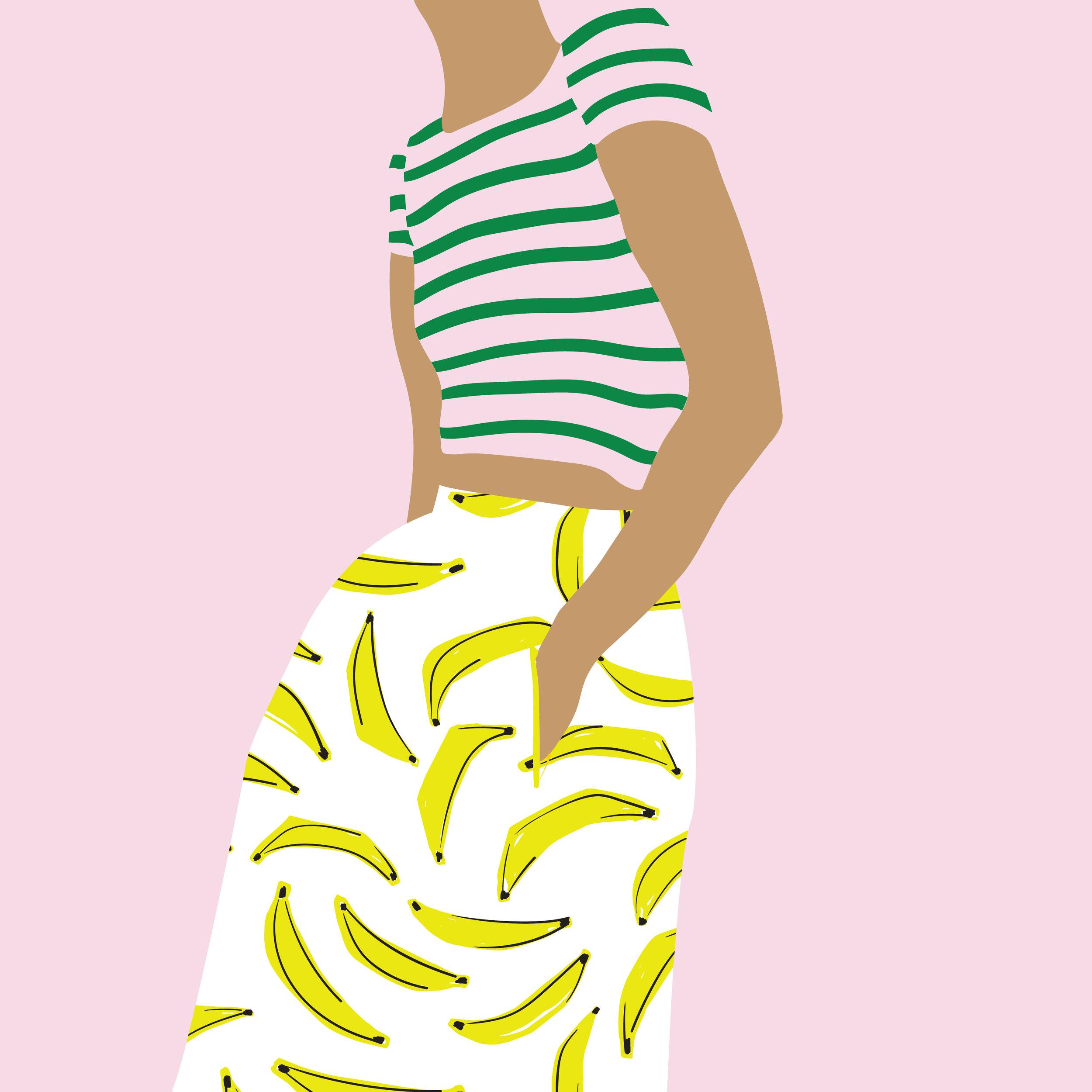 Girl with banana skirt.jpg