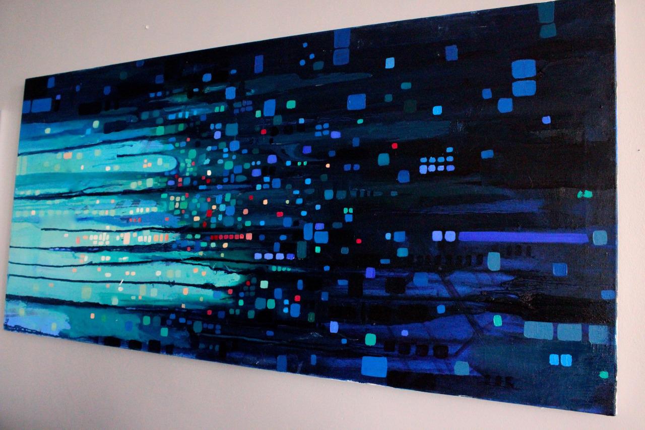 Copy of Rainy Car Window, 2015. Oil on canvas. 48x24