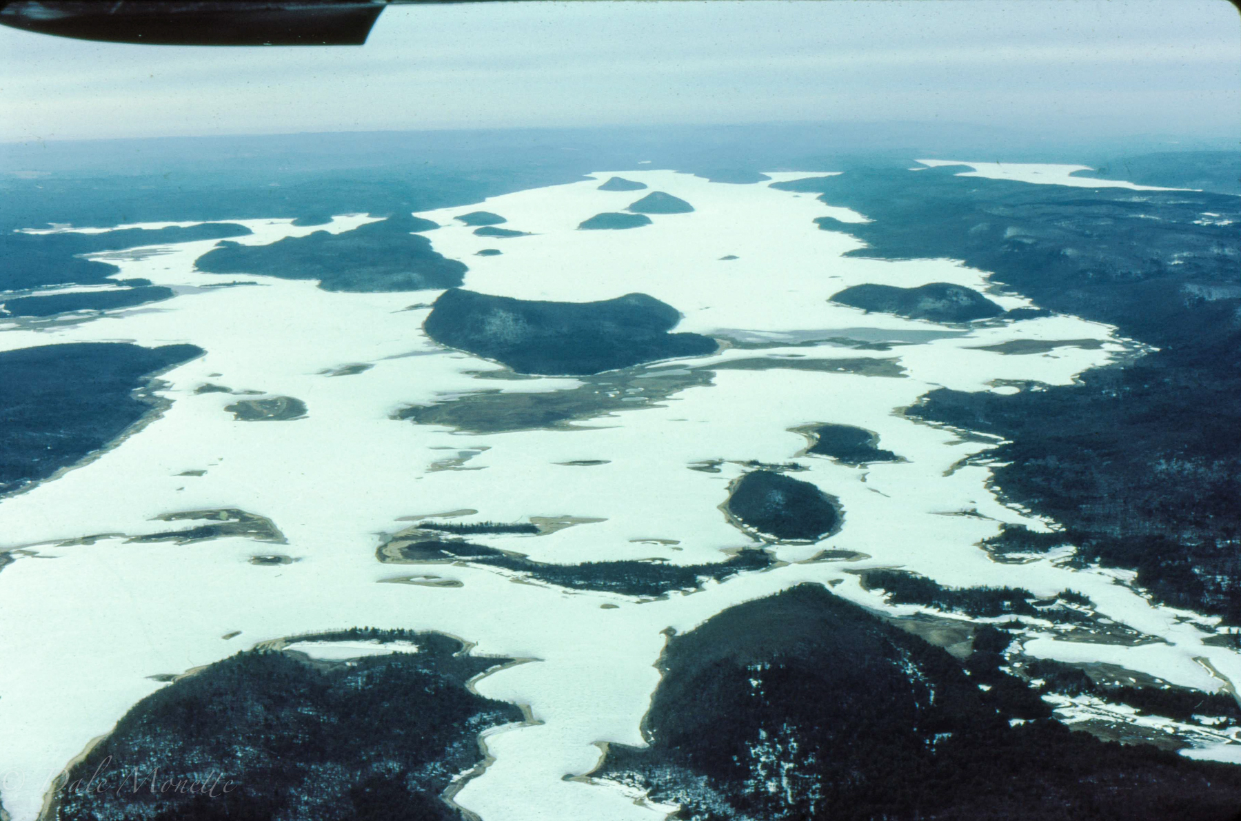 Flying over north Quabbin looking south. Mount L is right in the middle taken in 1985.