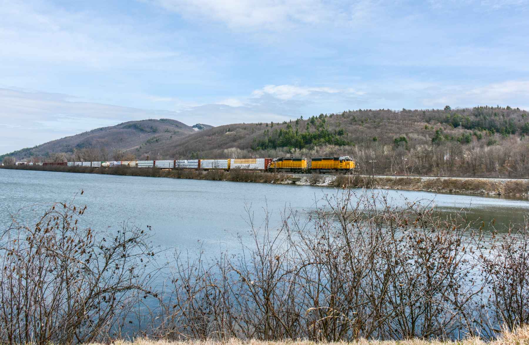 New England Central heading south in Brattleboro VT along the CT. River .
