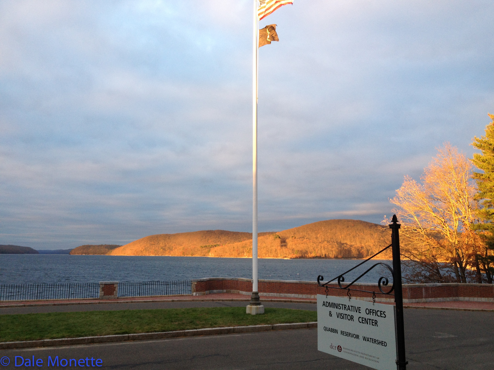 As I was closing the Visitors Center one night located at the Winsor Dam, the late afternoon sun was setting in the west and setting the Quabbin Hill on fire with late afternoon sunlight.