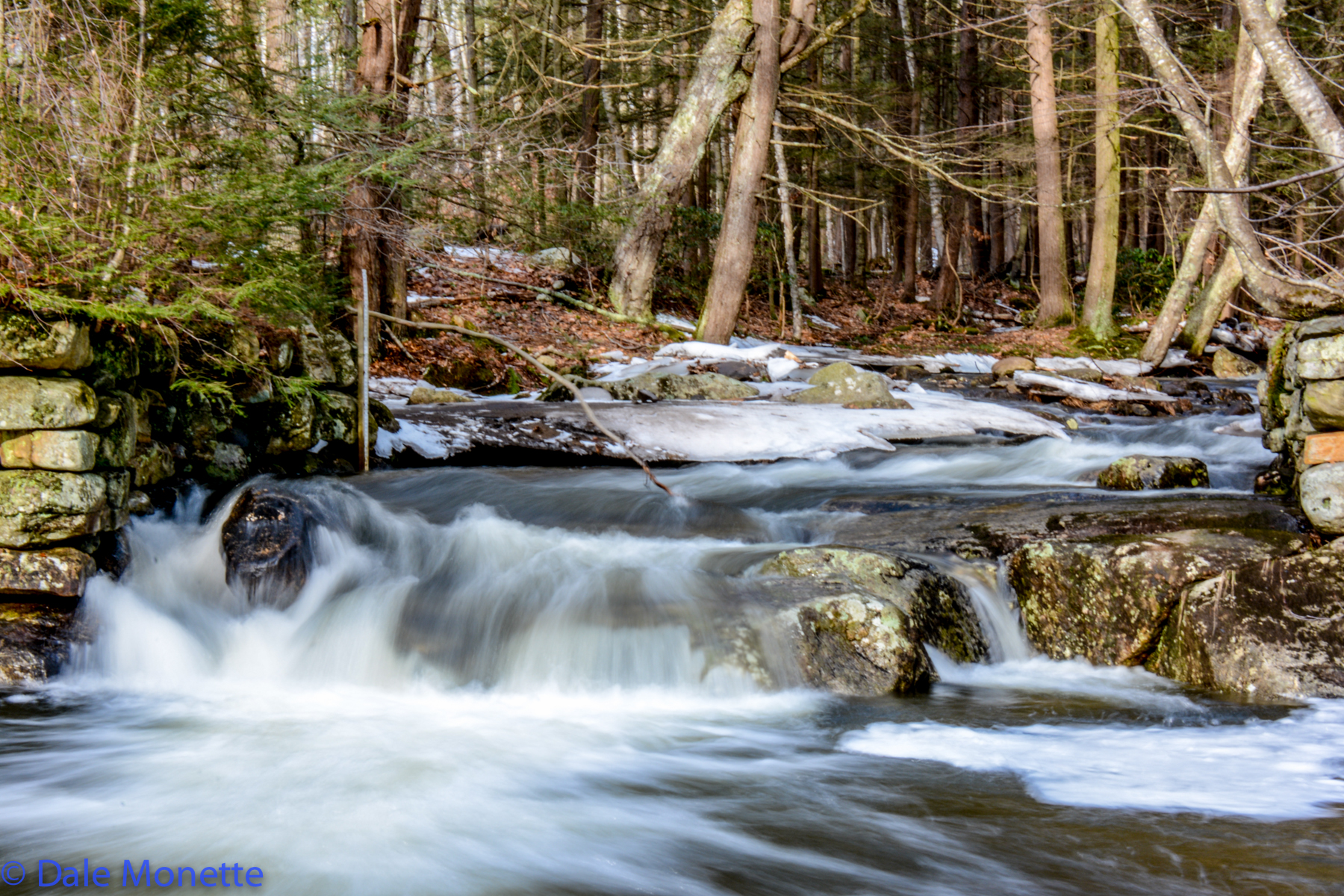 Brooks over flow with snow melt.  This is Hop Brook in the New Salem area. The Quabbin's water level also rises.