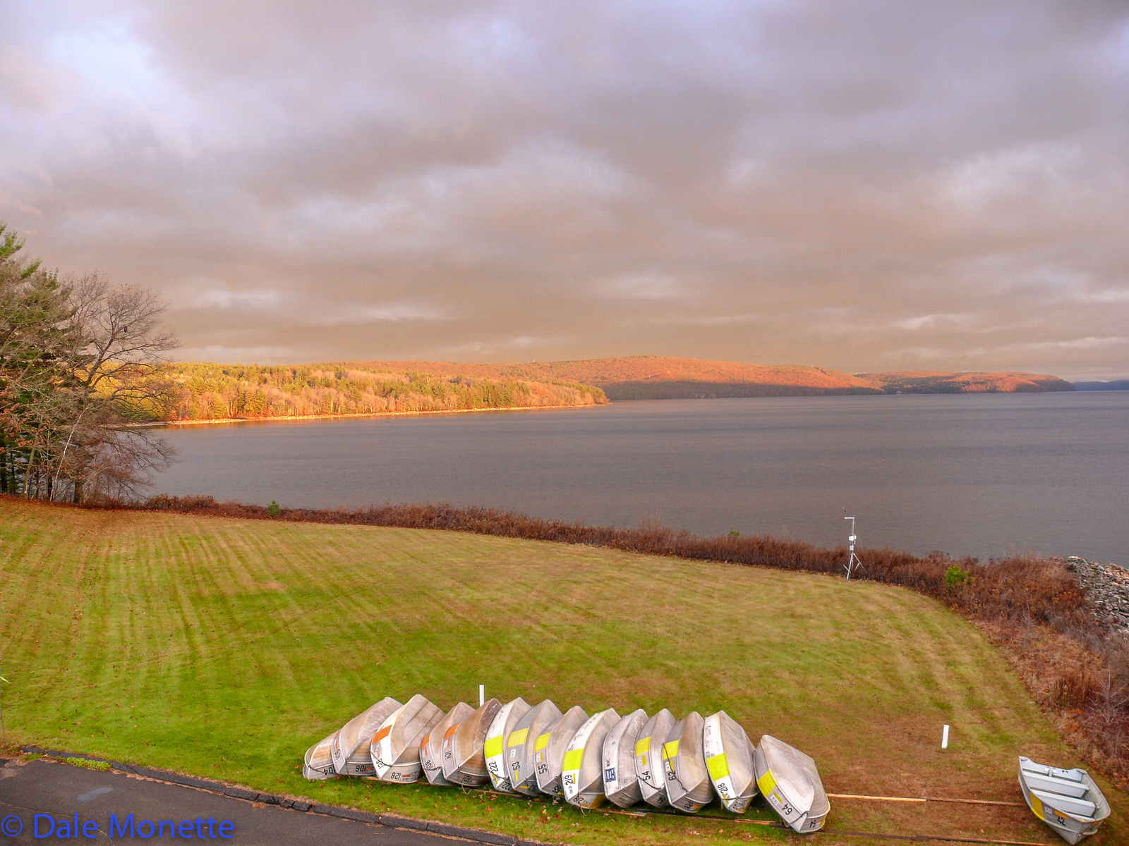 Early fall sunrise in the east lighting the west side of the Quabbin  looking towards gate 8 from the Administration Building.