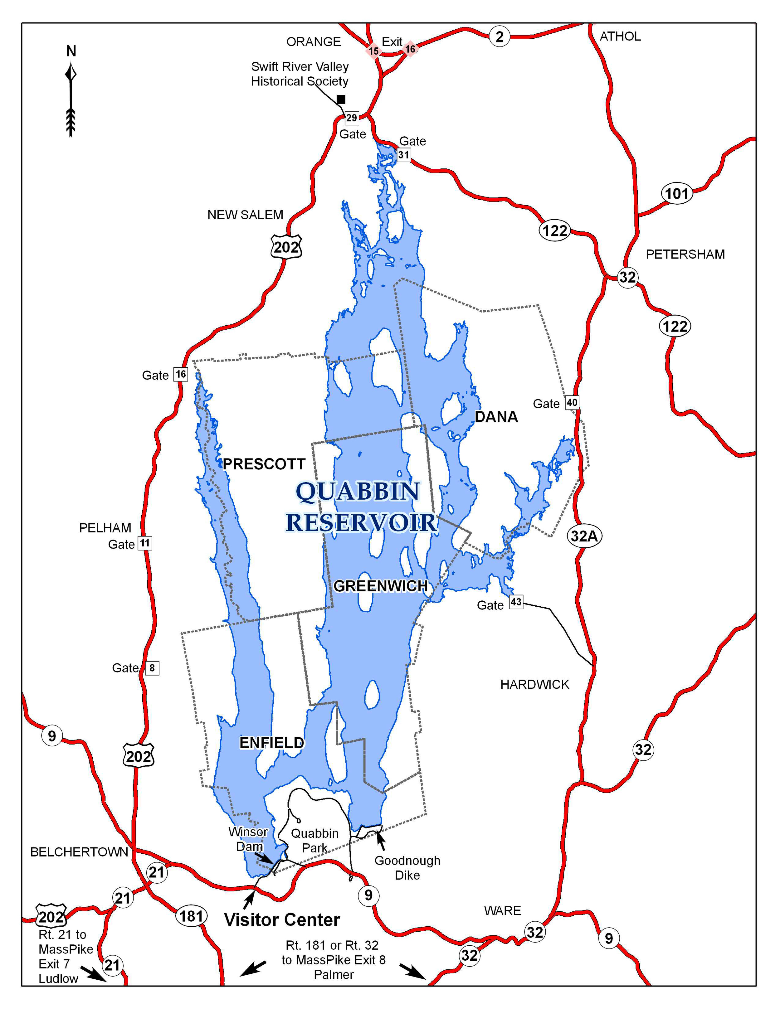 Call the Quabbin Visitor Center at 413-323-7221 for more info about the Quabbin, including rules. Copy and past the following URLto your browser to viewa short film about Quabbin I was involved in when I worked as aninterpreter there at the Visitor Center.   https://www.youtube.com/watch?v=CE4Q5LOK2ec