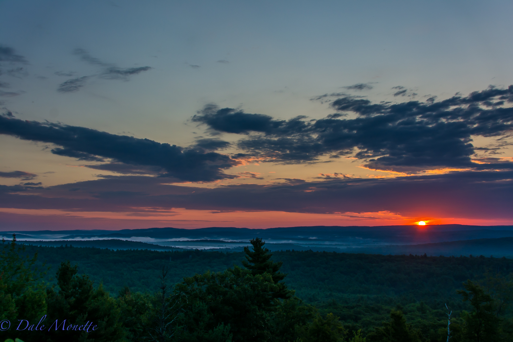 Sunrise looking towards Athol MA over north Quabbin area from the Route 202 lookout in New Salem.  8/15/15