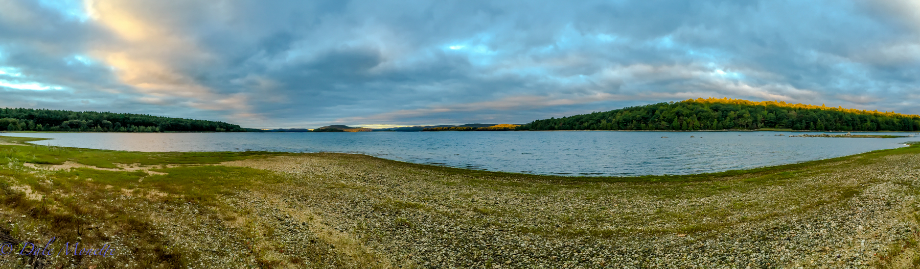 Early morning sun on the tops of the mountains in northern Quabbin.  9/14/15