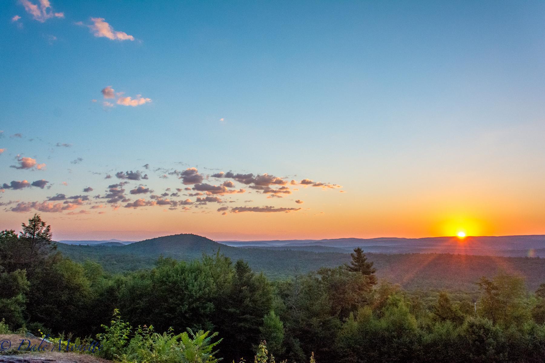 A hot summer sunrise from New Salem looking over north Quabbin. 7/23/16