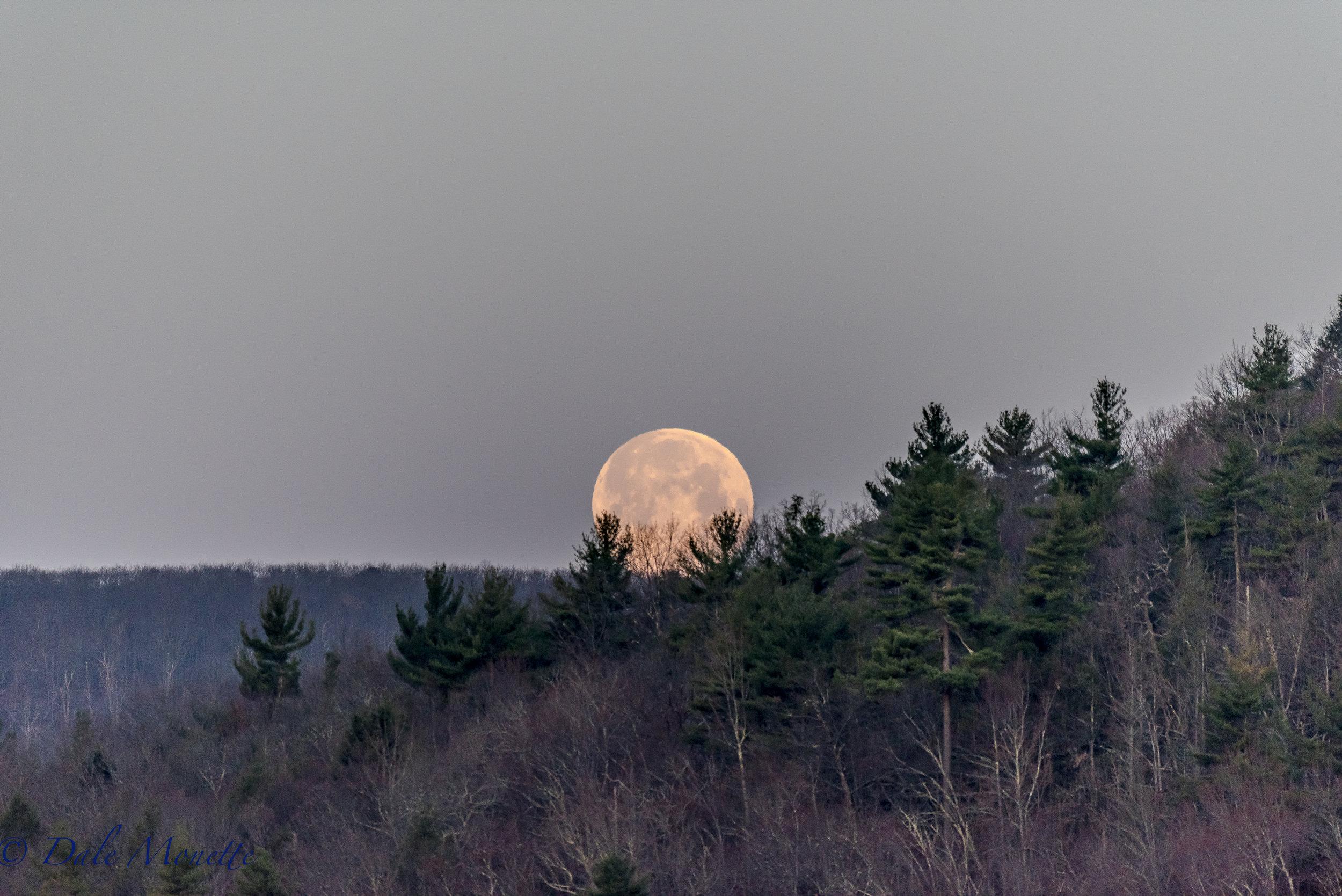 Quabbin Valley moon over New Salem. 4/11/17