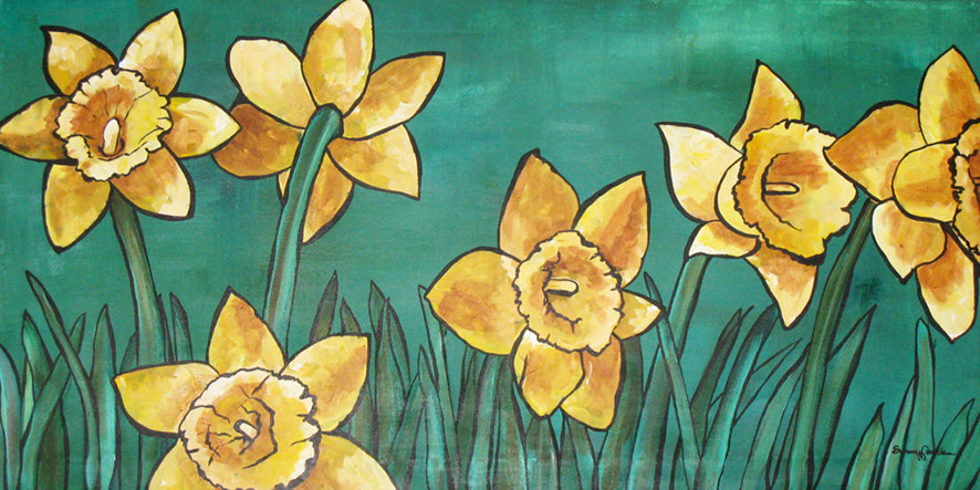 Daffodils , acrylic and oil pastel on canvas
