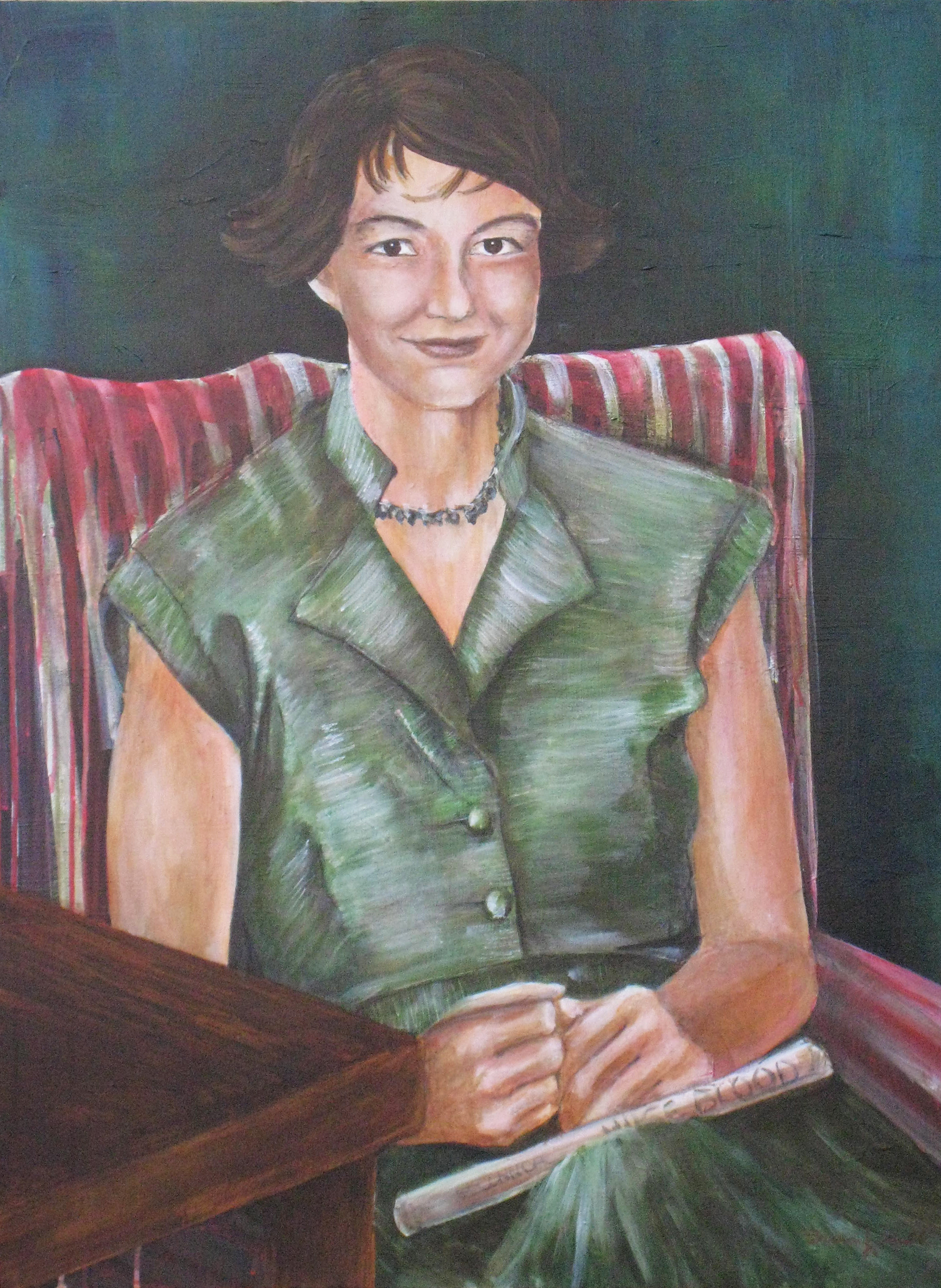 Flannery O'Connor,  acrylic on canvas