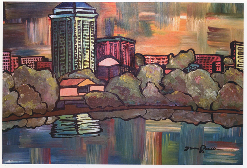 Downtown Montgomery,  acrylic on canvas