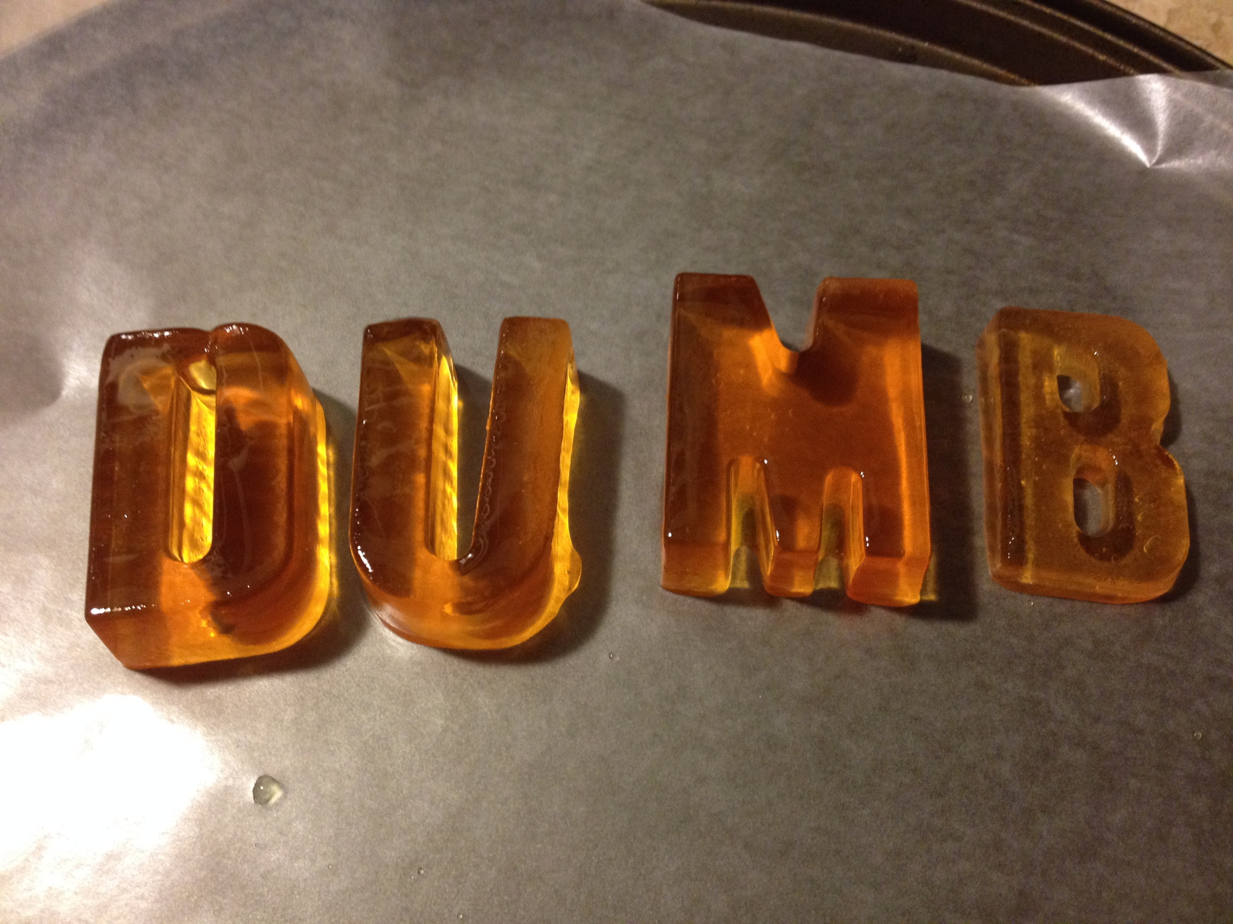 Jello letters. Seemed like a good idea at the time. 2014.