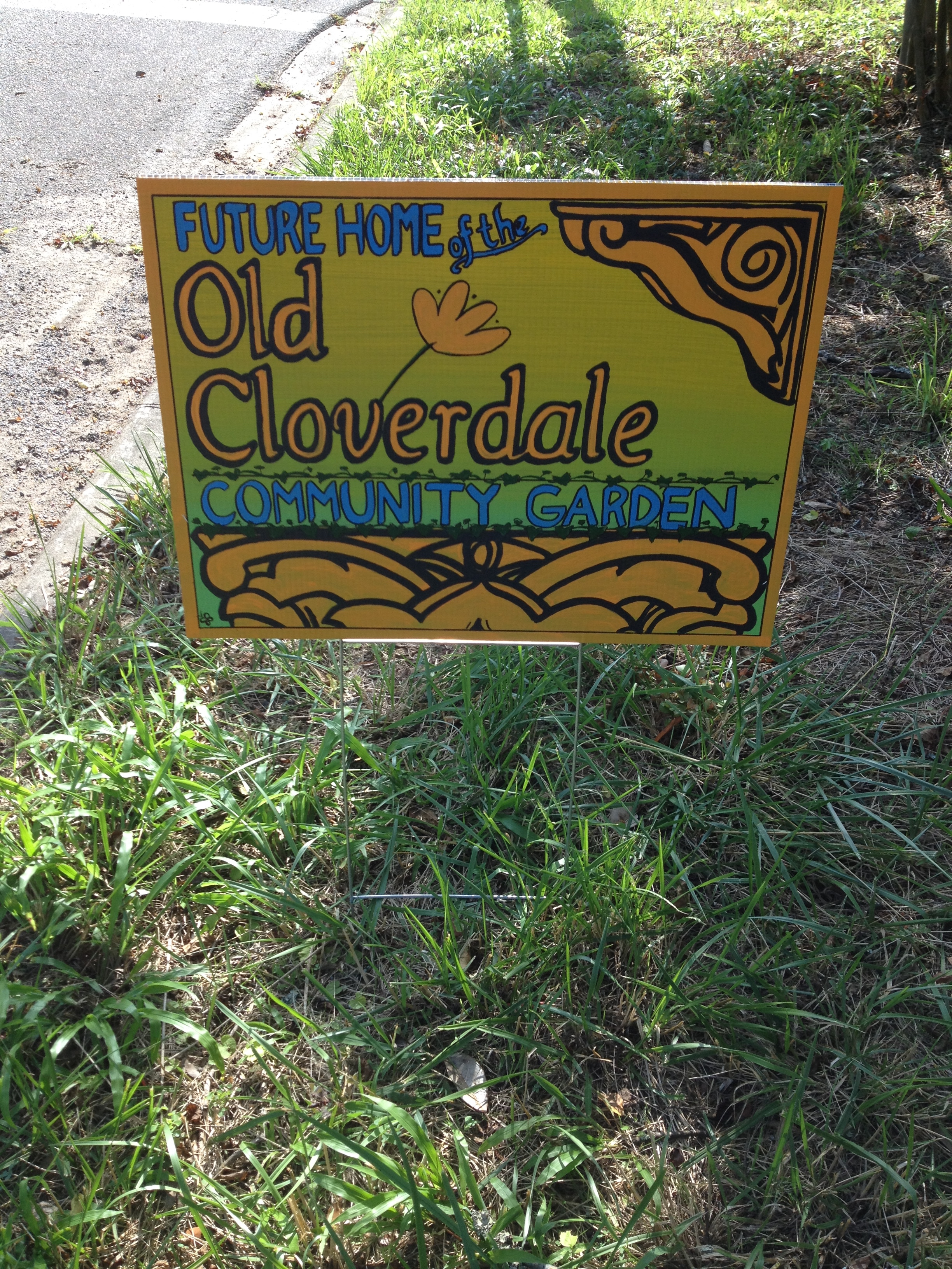 Old Cloverdale Community Garden temporary sign (front), 2015.