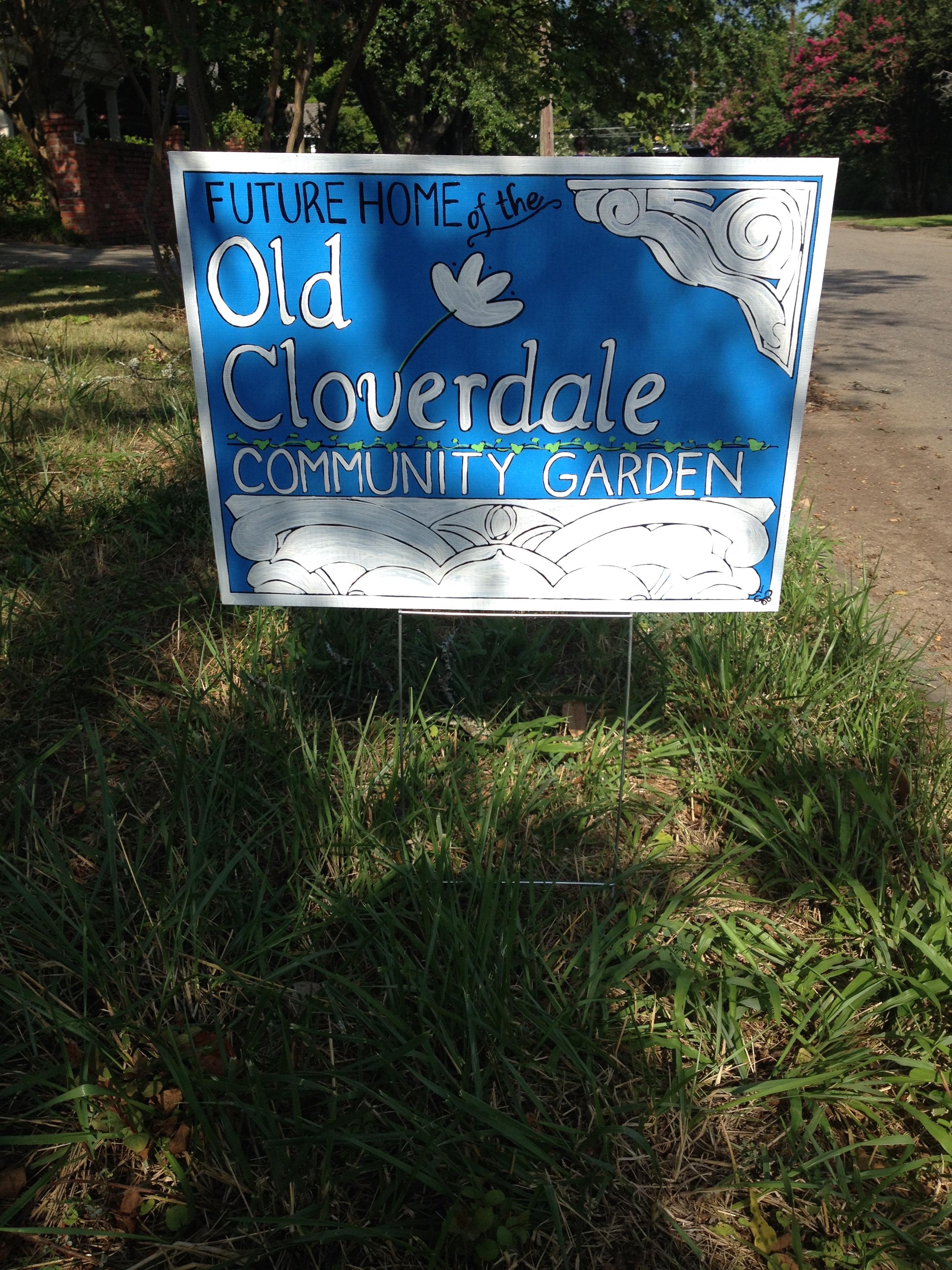 Old Cloverdale Community Garden temporary sign (back), 2015.