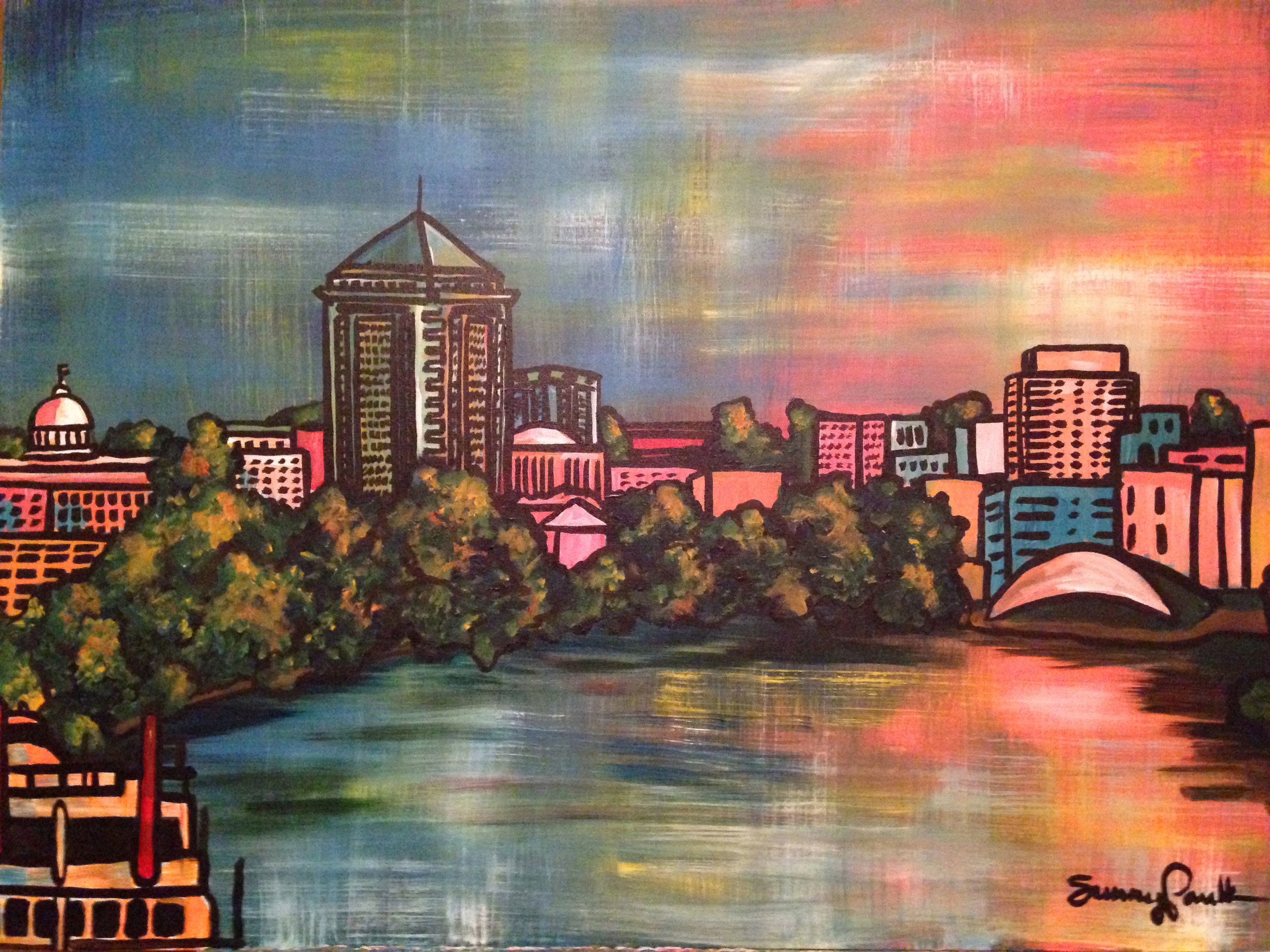"Montgomery skyline from the Alabama River,  acrylic on canvas, 40""x30."" 2016"