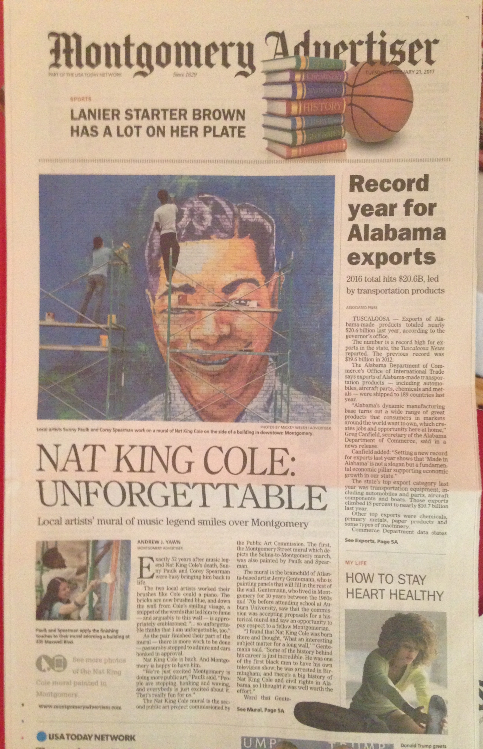 Coverage of the part of the Nat King Cole mural that Corey Spearman and I painted, Montgomery Advertiser, February 21, 2017. Online photo gallery at  http://on.mgmadv.com/2lsnu33