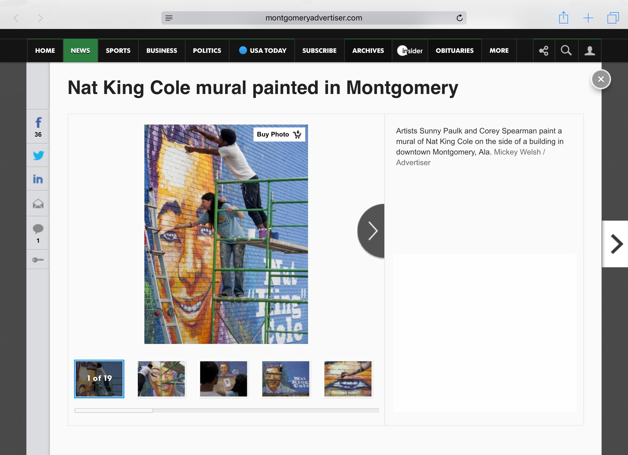 """Montgomery Advertiser  online photo gallery of Corey Spearman and Sunny Paulk painting the Maxwell Boulevard """"Nat King Cole"""" mural in Montgomery, AL. February 17, 2017.  http://tinyurl.com/n8ngagv"""