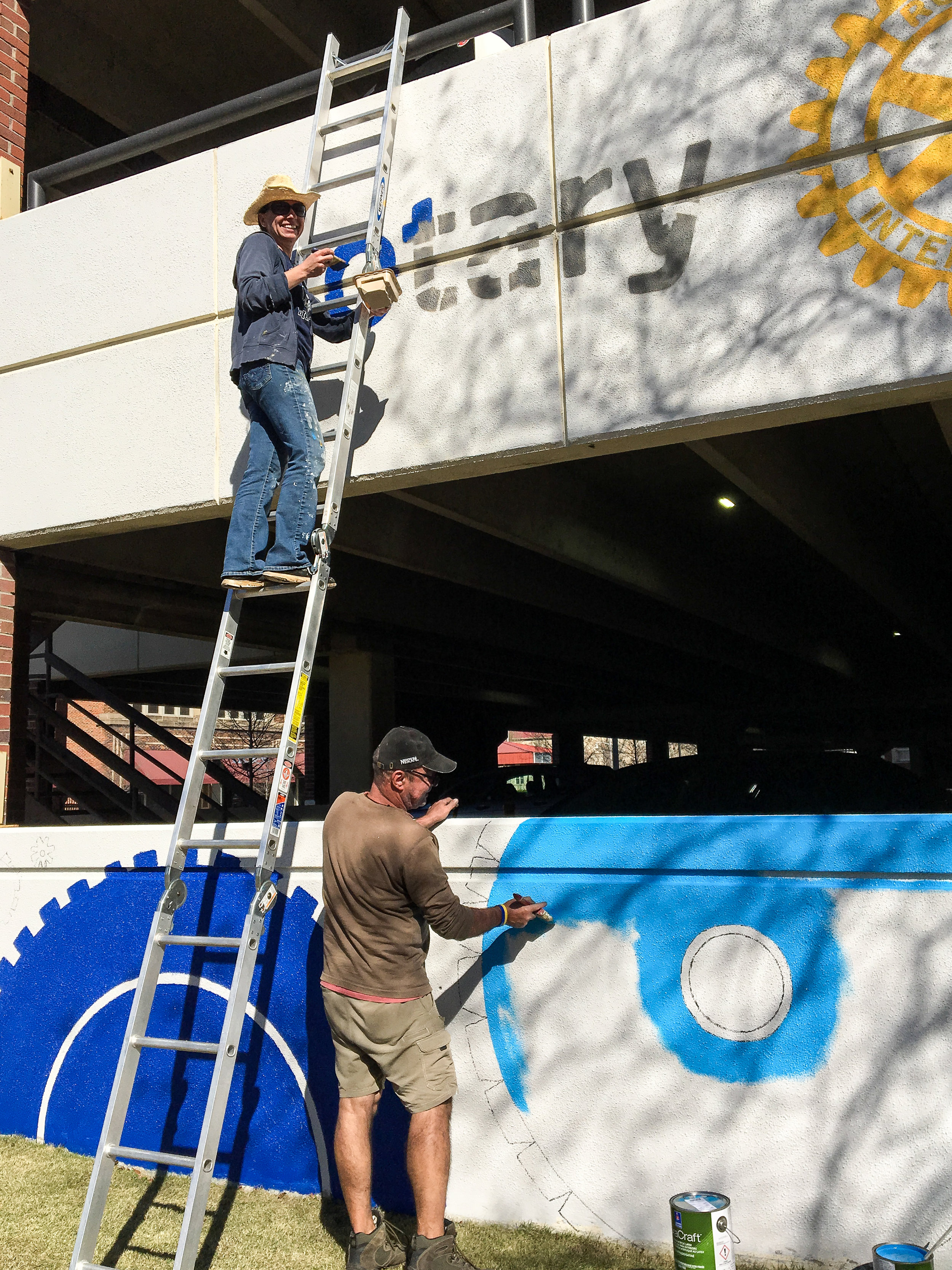 Day Four: Rotary Club logo and cog painting. Photo by Stina Allen