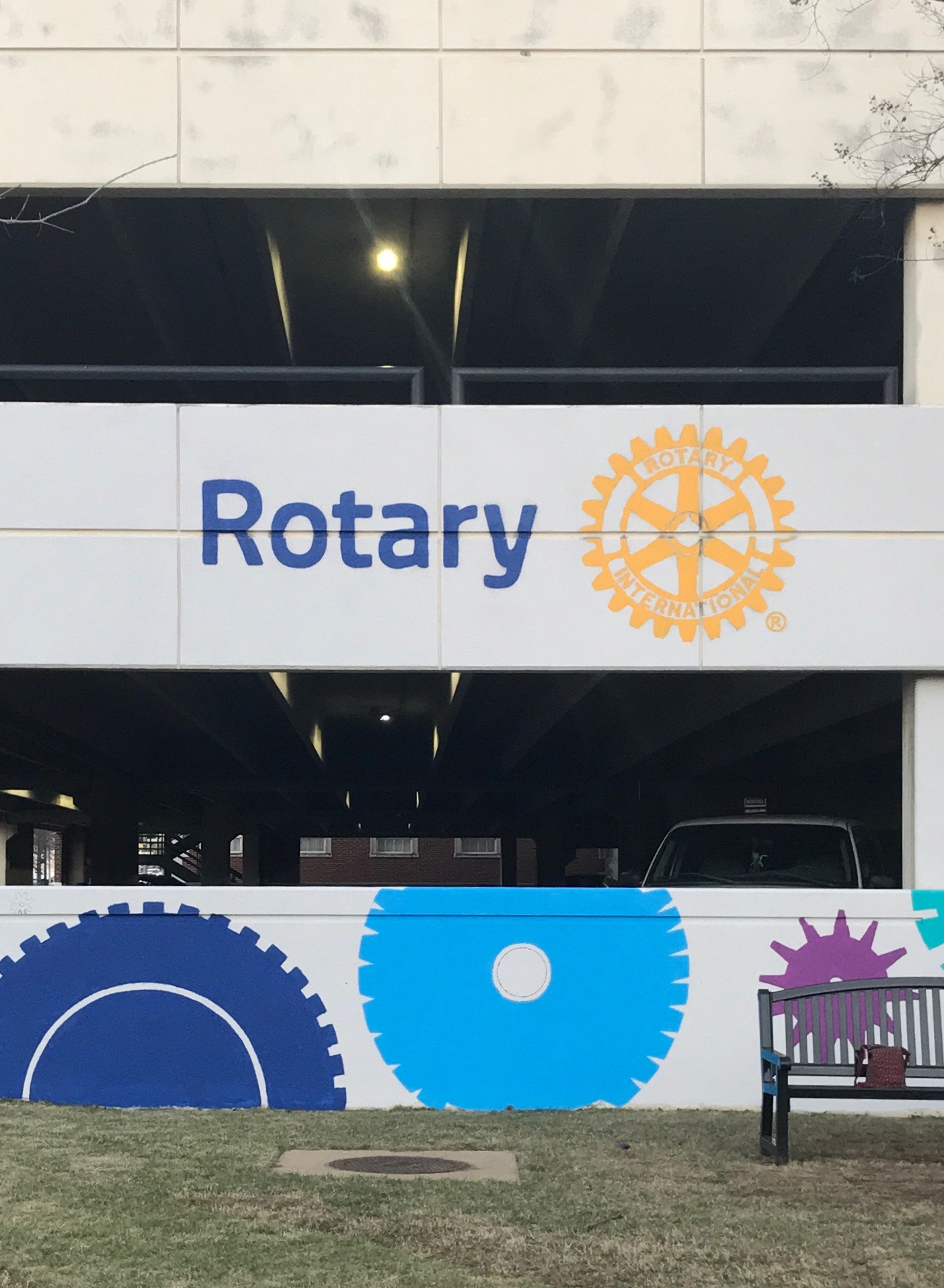 Day Four: Rotary Club logo and cog painting.