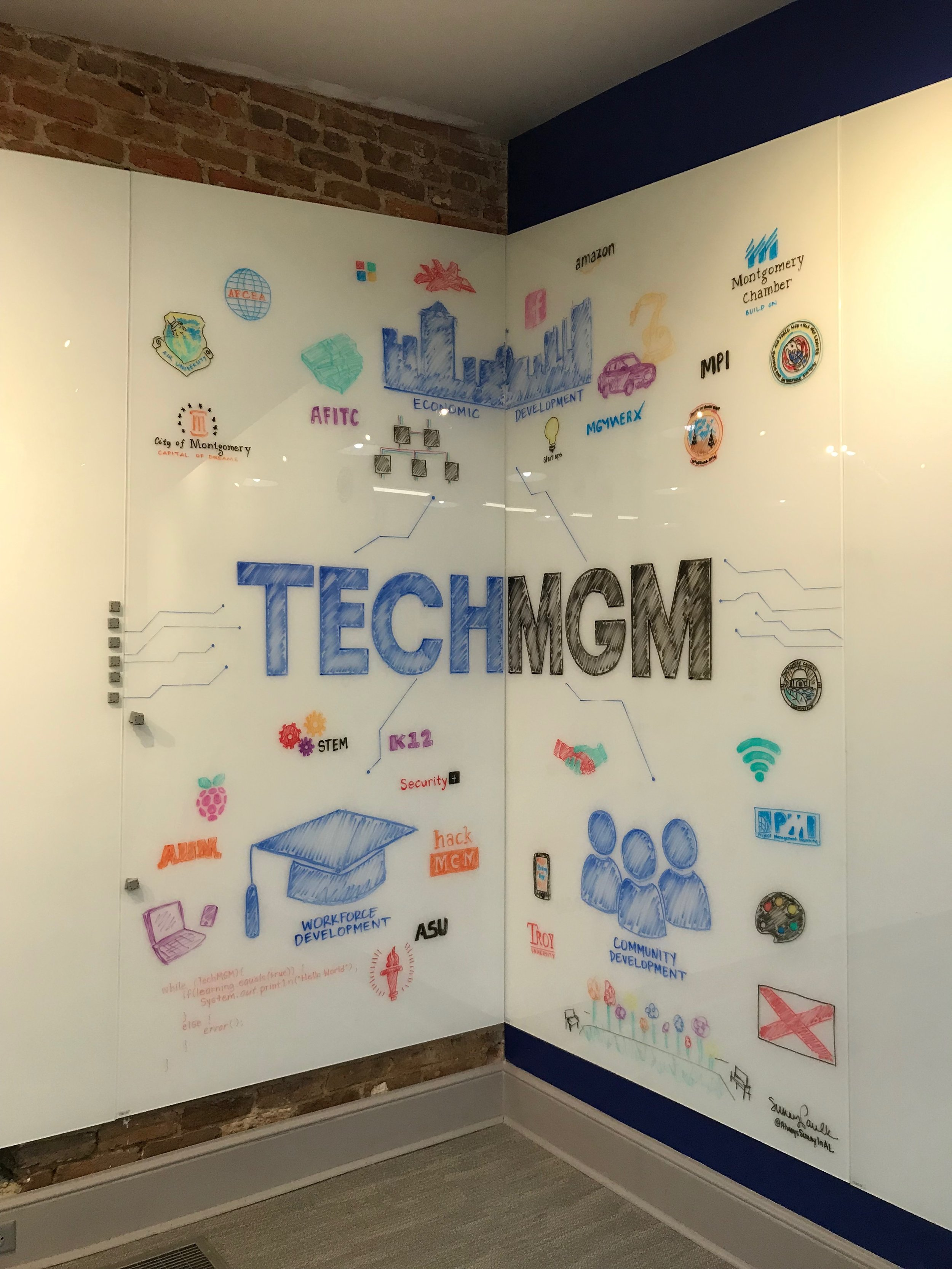 For TECHMGM, Montgomery Alabama Chamber of Commerce. 2018. 8' x 8' dry erase marker on glass.
