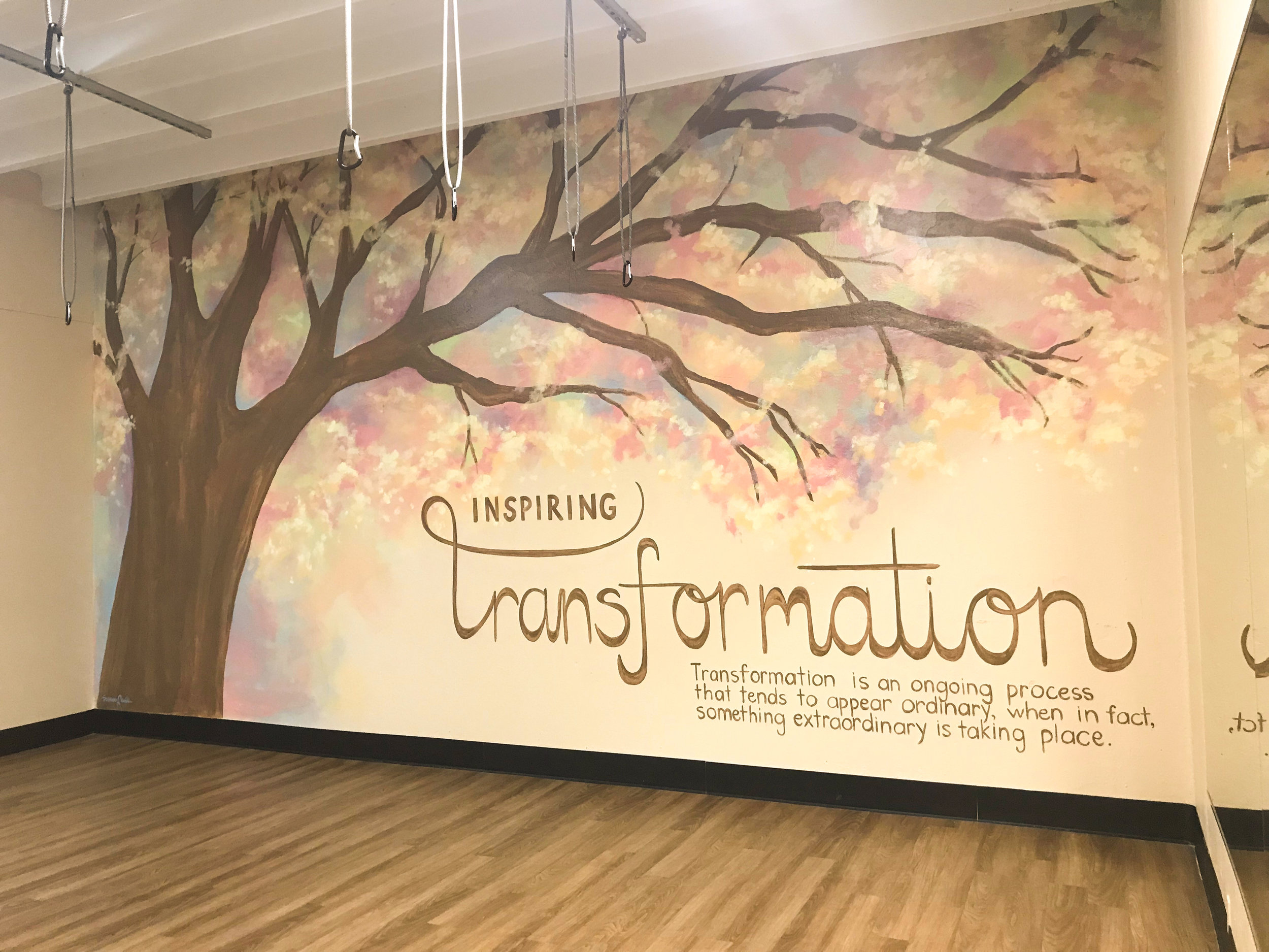 Downtown YMCA Wellness Room mural, Montgomery, AL. 20' x 11' latex on stucco. 2019.