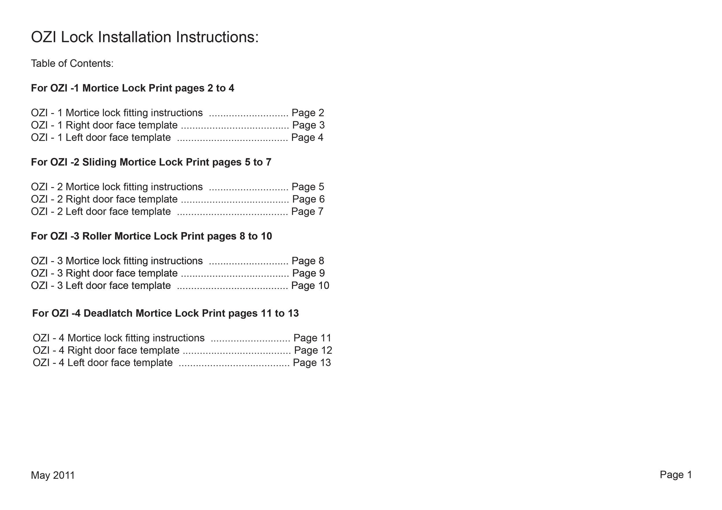 Ozi Lock Installation Instructions