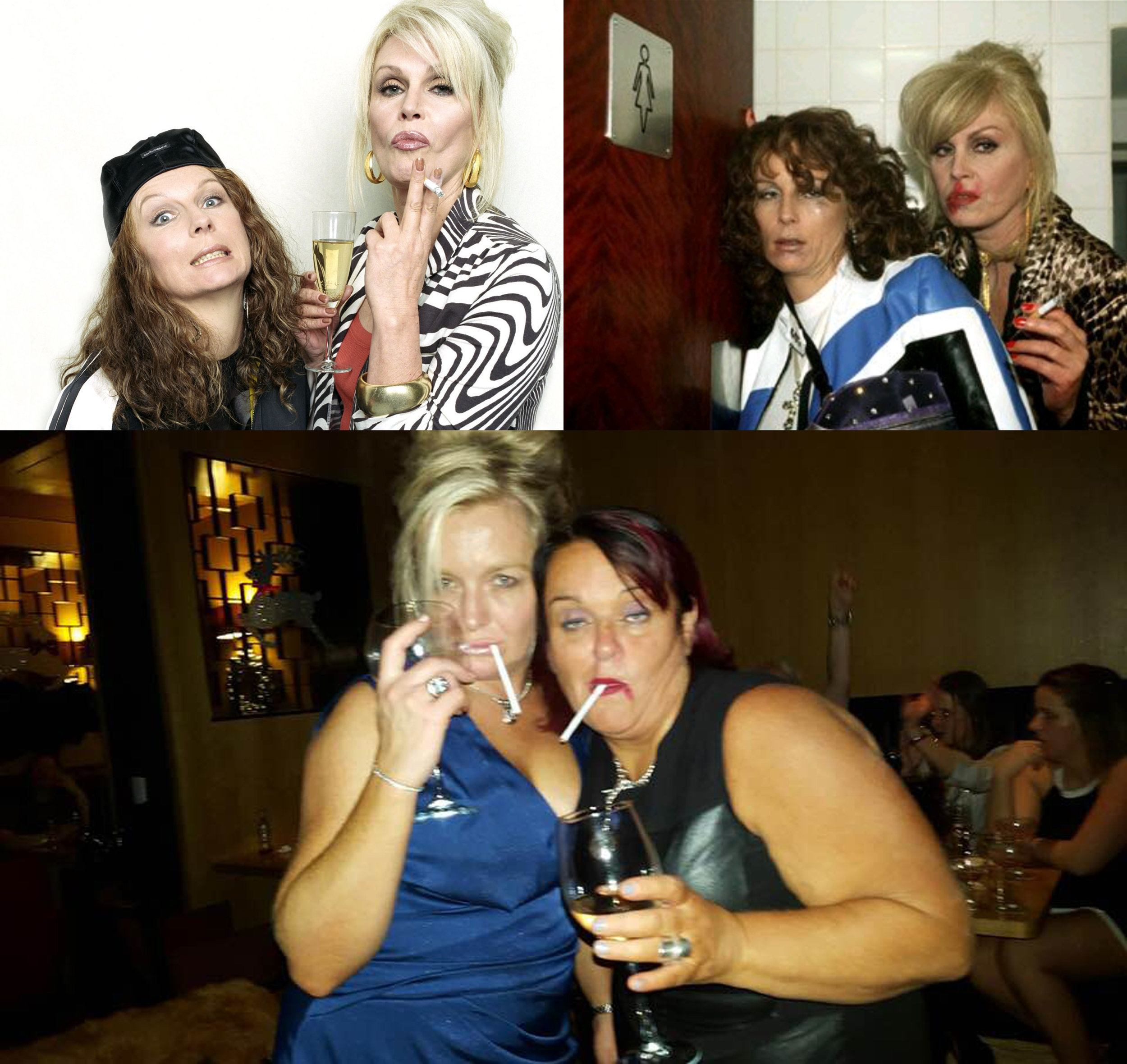 Top:characters Eddie and Patsy from  Absolutely Fabulous , bottom: Brenda and Sophia on Halloween