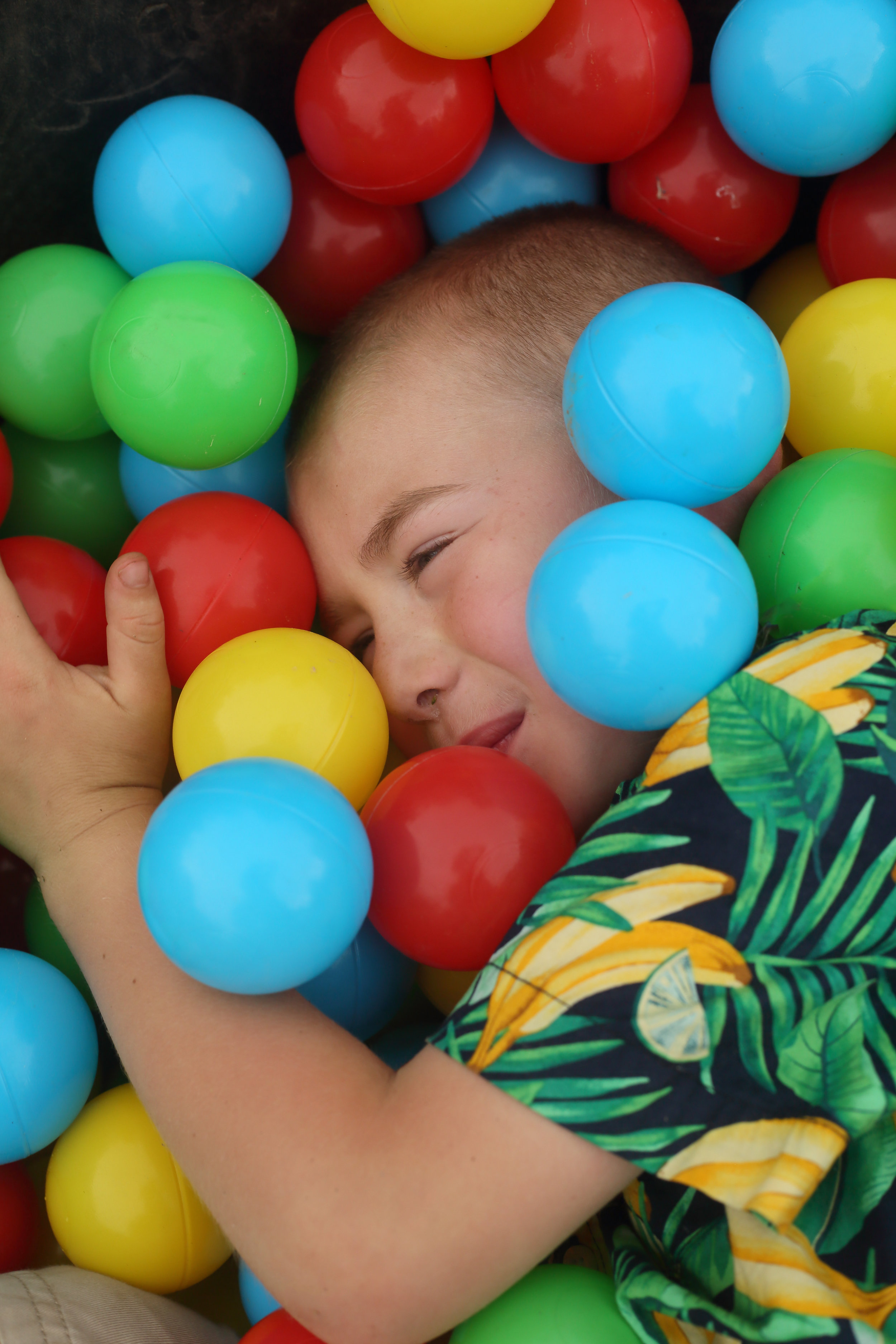 There was a huge feeding trough full of plastic balls, which proved the ultimate photo opp for Blaine