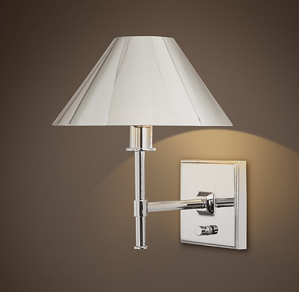 Restoration Hardware Petite Candlestick Sconce with Metal Shade $109.jpg