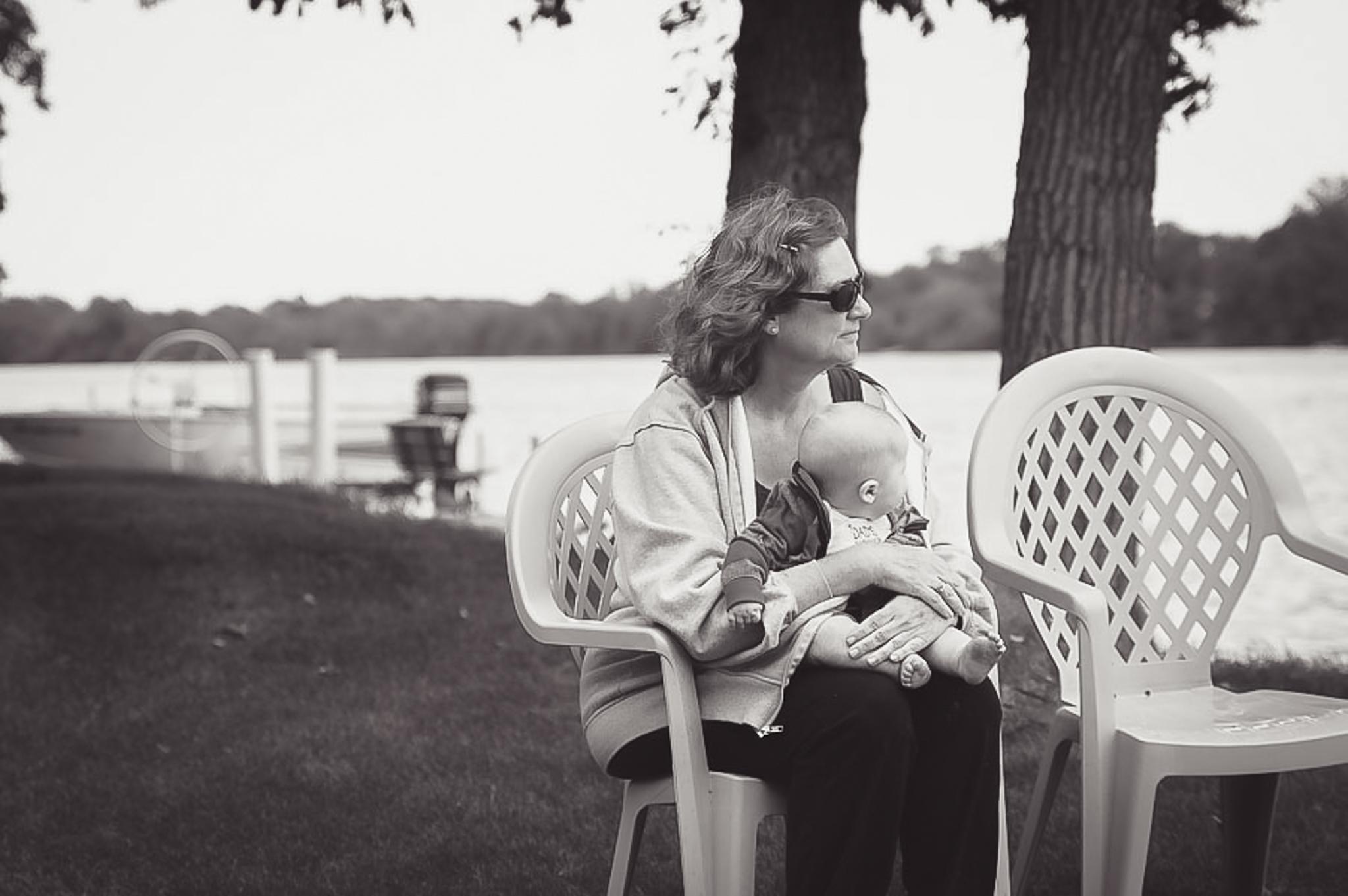 Grandma Kay & James at the Cabin (August 29, 2015)