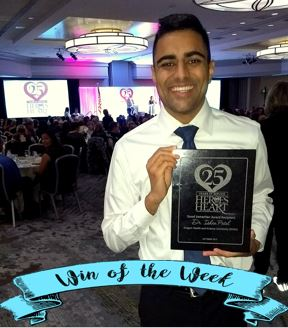 Pictured above is dr. Ishan Patel accepting his award.