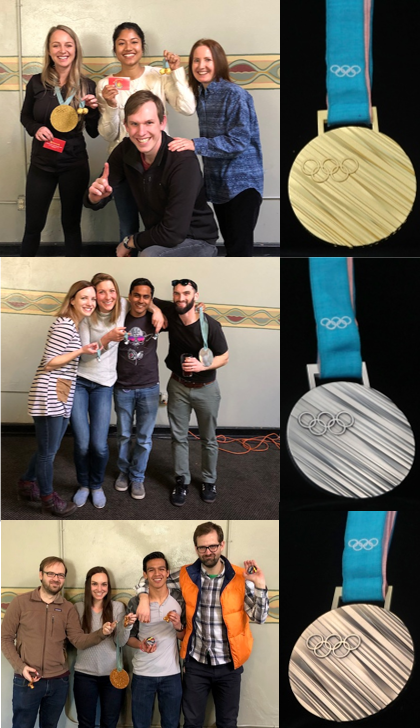 """The winning teams received Olympic style medals and prizes!  Top: Gold medal winners - """"Dream Team""""  Middle: Silver medal winners - """"Phak Pack""""  Bottom: Bronze medal winners - """"Race Car"""""""