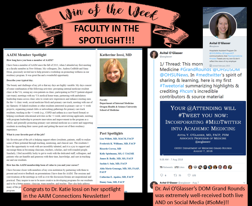 """Dr. Iossi was featured in the Alliance for Academic Internal Medicine (AAIM) """"Connections"""" Newsletter. Read all about it  here .  Dr. O'Glasser, our local academic social media expert,gave a Department of Medicine Grand Rounds presentation on one of her topics of expertise, Academic Medicine's use of Twitter. Her talk and accompanying """" Tweetorial """" (so meta!) quickly went viral, gaining tremendous feedback across social media as the """"gold standard"""" for discussions about academic use of social media.  Congrats to our fantastic faculty!"""
