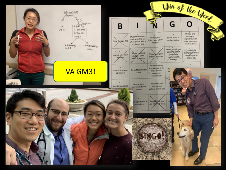 Congratulations to our illustrious BINGO winners - Team VA GM3! They completed the following for their win: learning a joke from a patient, senior resident gives 2+ chalk talks in a week, whole team goes outside together, learn something personal about your social worker, and complete a discharge without a pharmacist paging you. Not to mention petting a therapy dog for bonus warm fuzzies!