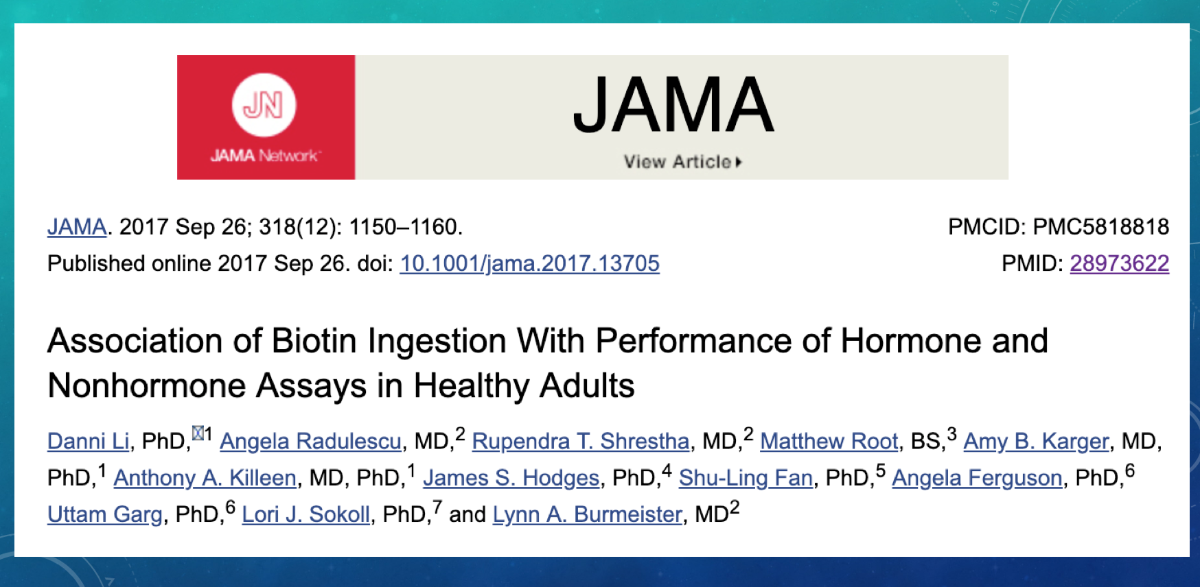 Click here for the link to this excellent article in JAMA about Biotin and Endocrinology Lab Assays