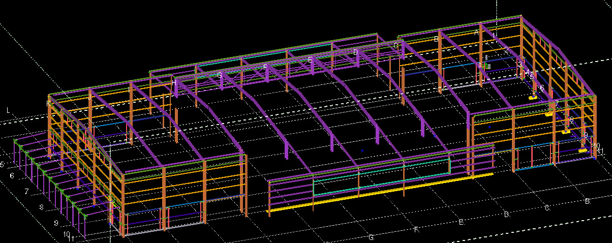 Carrara Steel model. Purple & Orange indicates existing steel work.