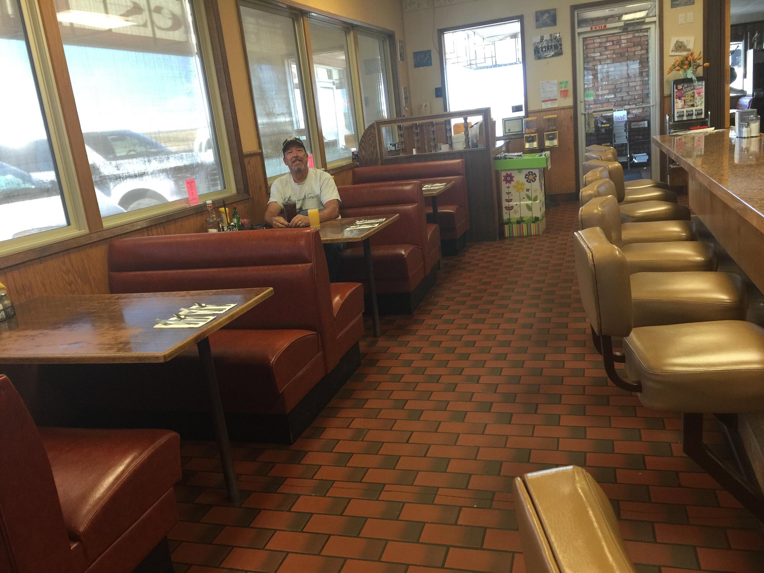 Brad eating at Jakes Cafe in Ritzville Washington