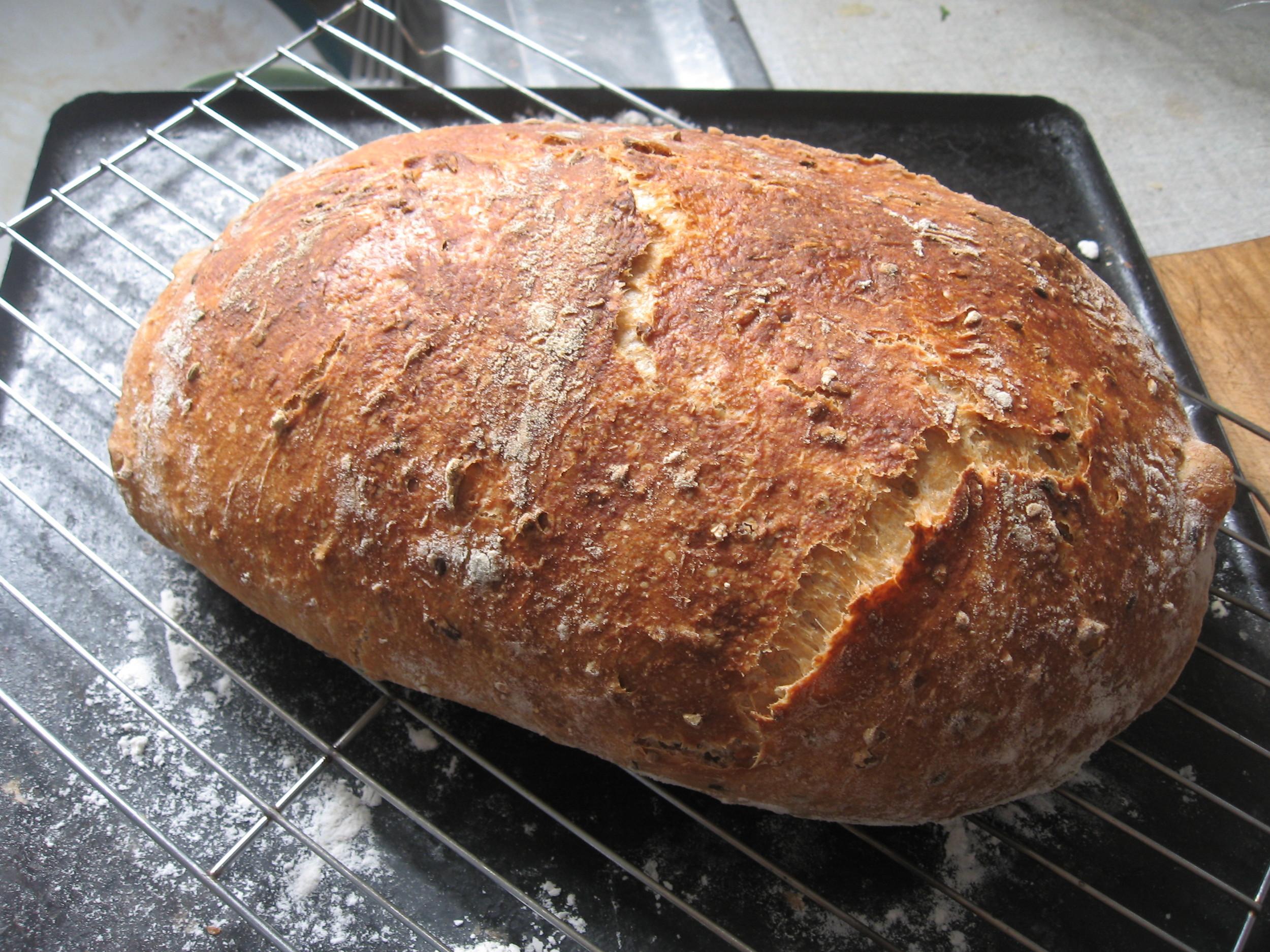 Home made no-knead bread