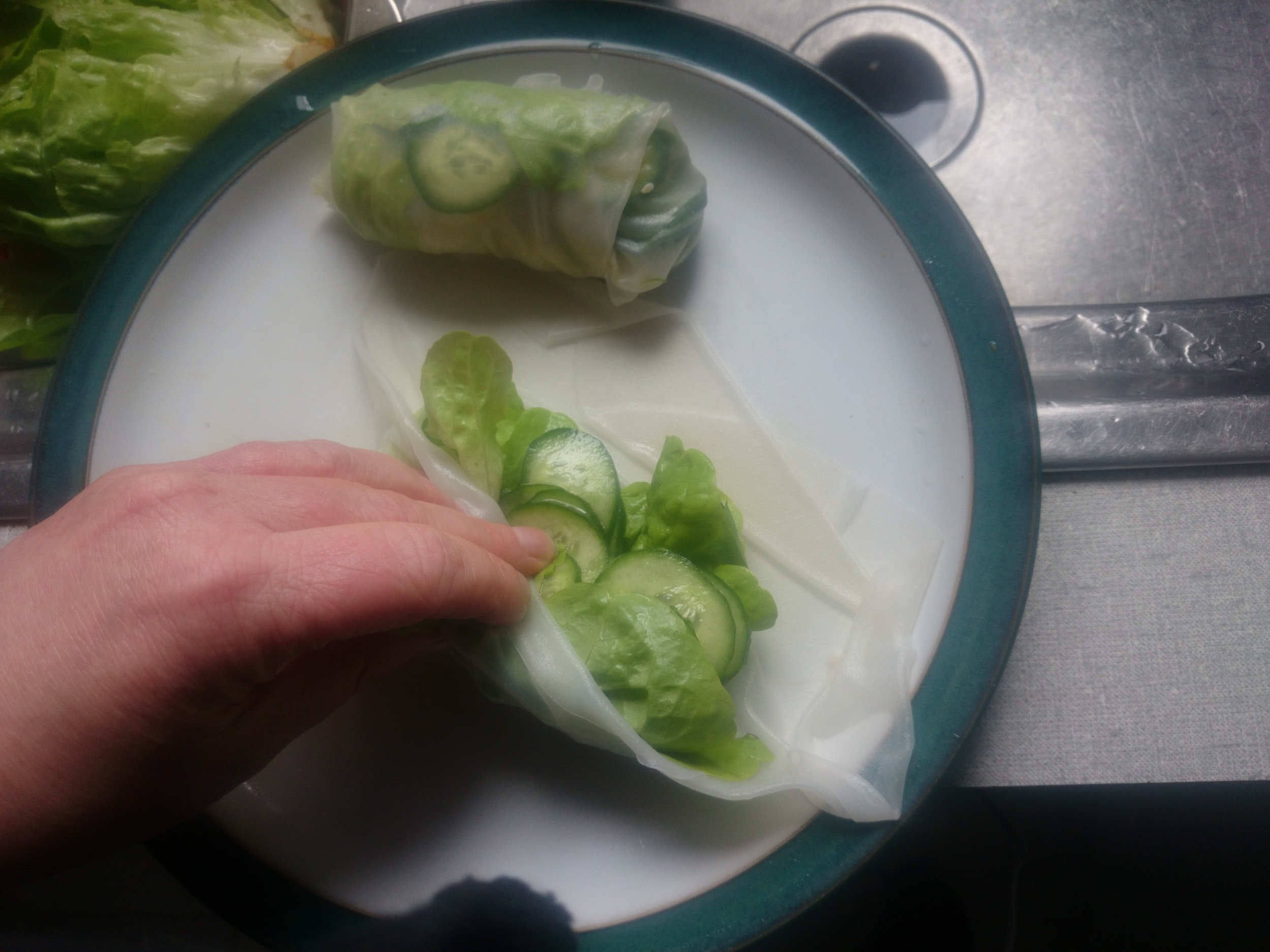 Using the cucumber salad in rice paper rolls is a  very  good idea.